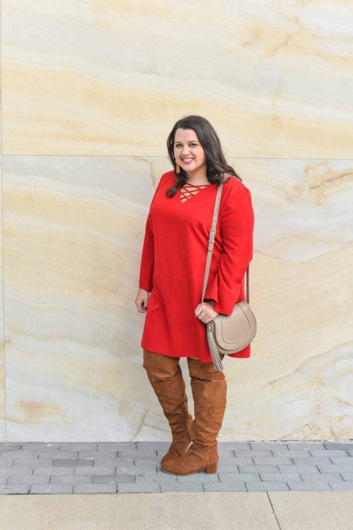 Finding over the knee boots that fit a curvy woman was difficult until this season. I found these great curvy Over the Knee Boots from Eloquii and have been obsessed with wearing them this holiday season. Paired with a gorgeous plus-size holiday dress from Avenue, I am easily ready for a holiday party. Make sure to check out this latest post from Emily Bastedo the curvy style and travel blogger from Something Gold, Something Blue. - @EmilySGSB
