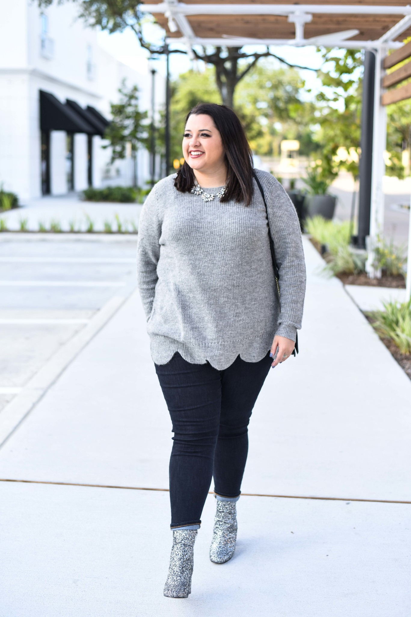 Soft grey scallop sweater on sale during Cyber Week