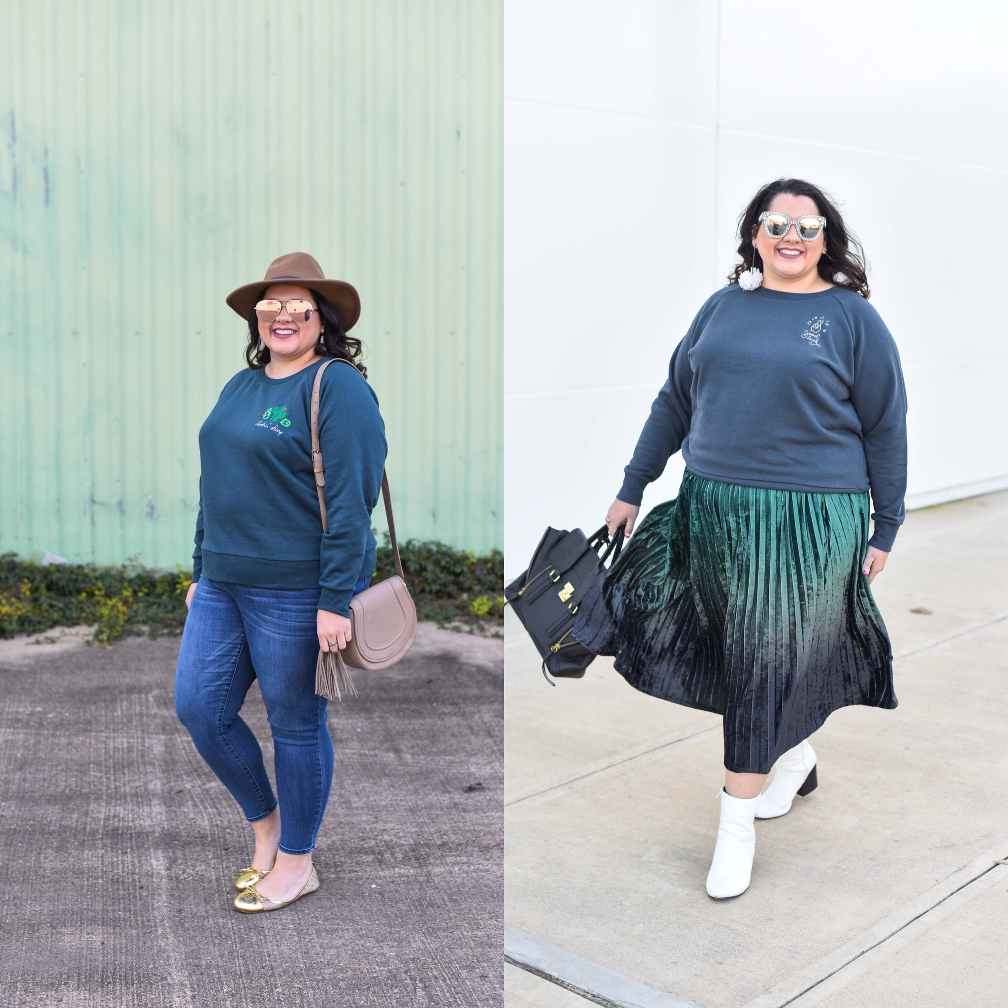 Talking about the biggest lesson I learned from Marie Kondo and how I'm trying to be more creative in styling items for more than one occasion - starting with the Ori embroidered sweatshirt. #plussizestyle