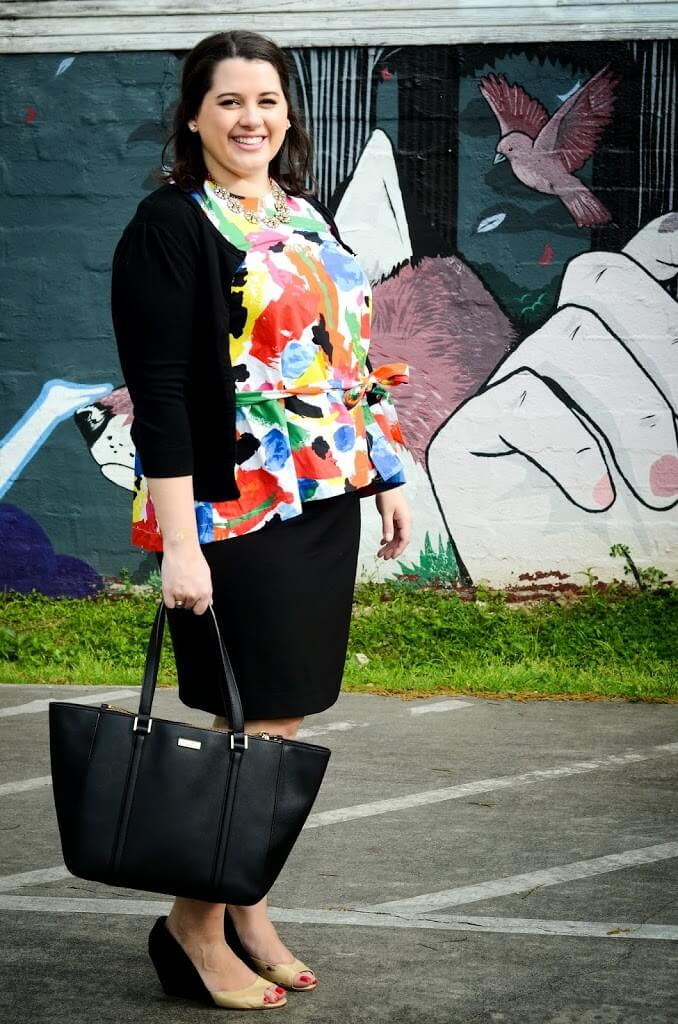 Kate Spade Saturday Abstract Peplum top for work
