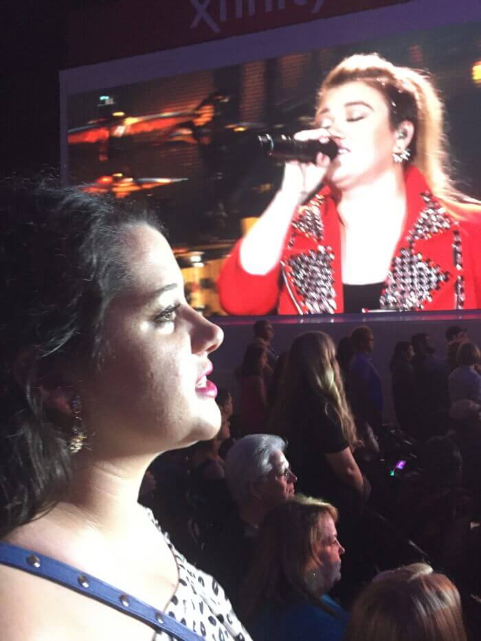 Singing along at the Kelly Clarkson Concert