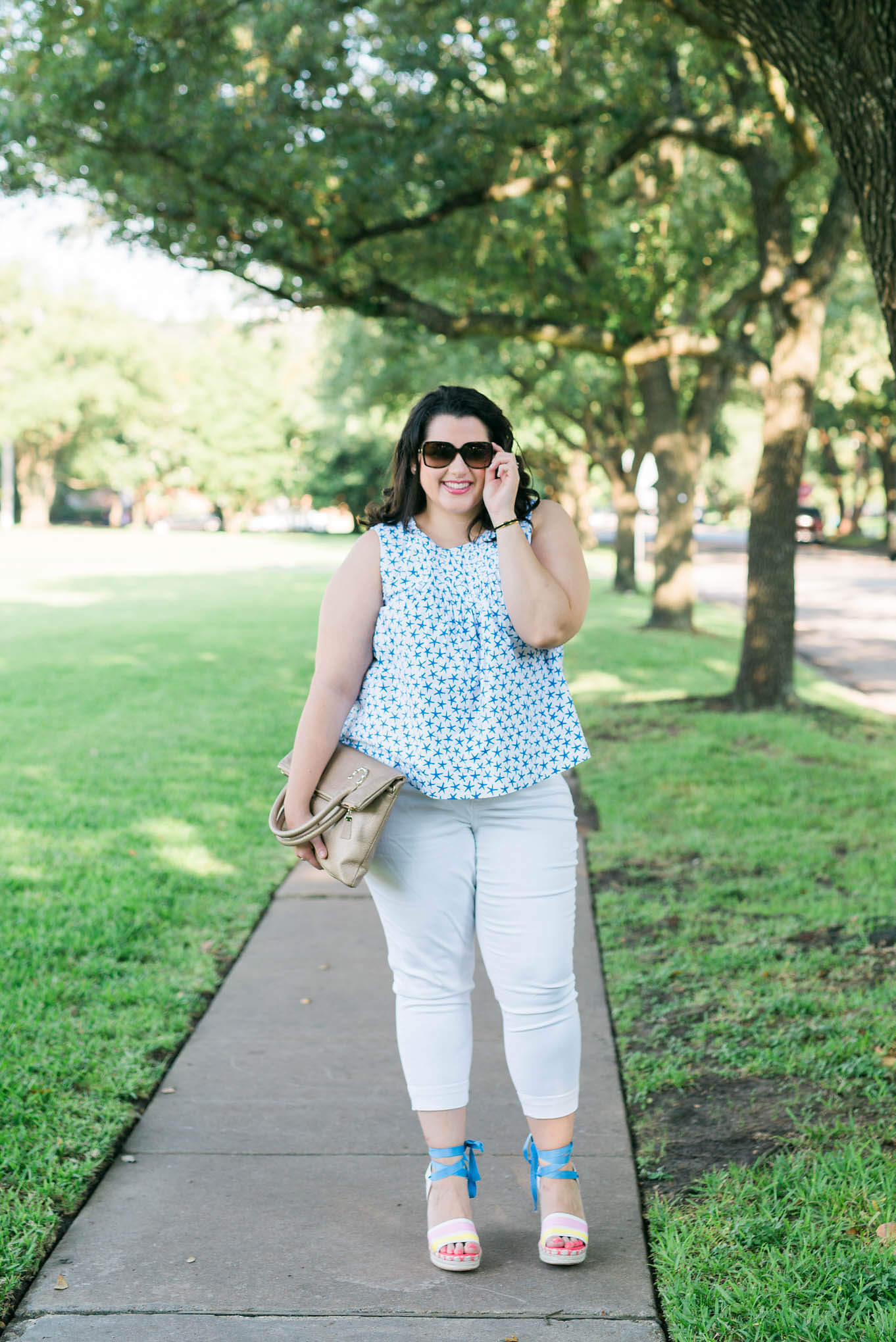 Kate Spade Summer Fun | Something Gold, Something Blue curvy style blog by Emily Bastedo | Plus Size Fashion, Summer fashion, What to wear in the summer, Kate Spade wedges, Melissa McCarthy Seven white capris, Elaine Turner purse, Chanel sunglasses, Kate Spade Broome Street collection