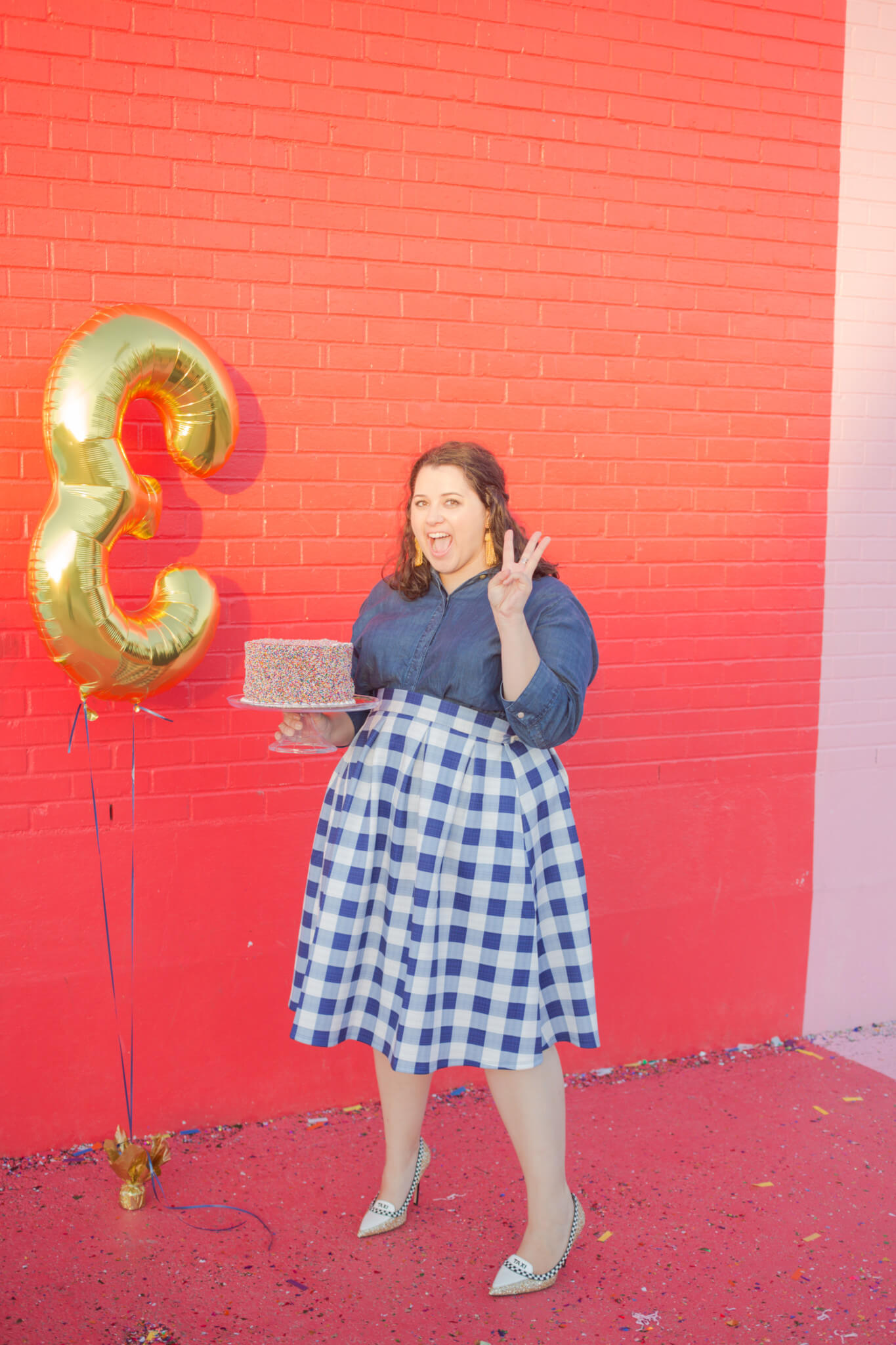 SGSB is 3 years old! I'm celebrating in an Eloquii gigham skirt, chambray top and Lisi Lerch tassel earrings. | Something Gold, Something Blue a curvy fashion blog by Emily Bastedo
