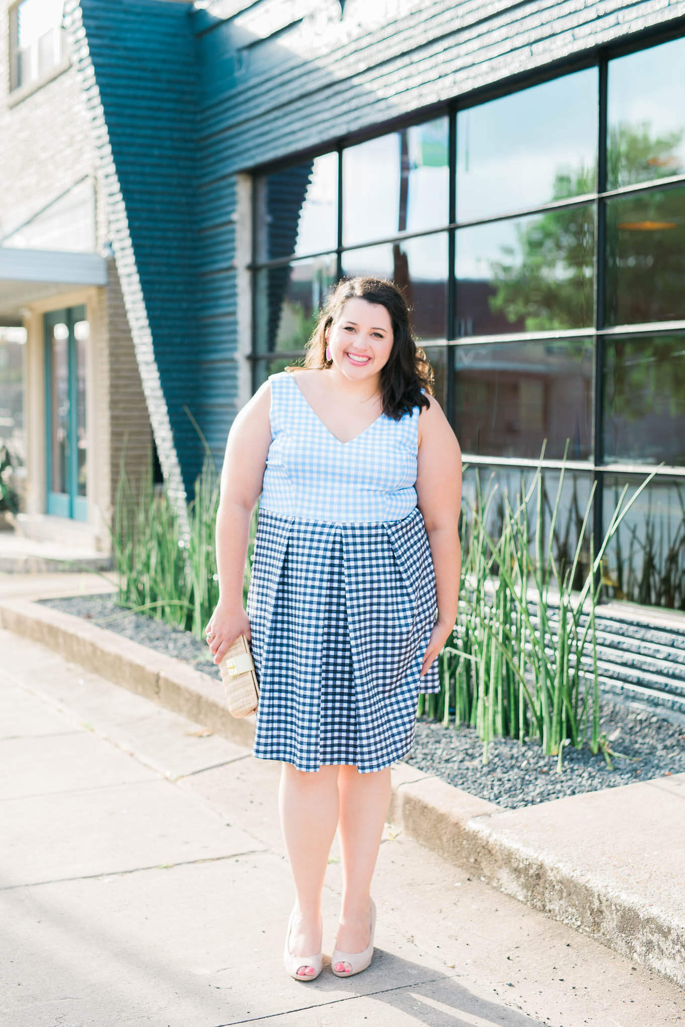 The perfect wedding attire for the summer to fall transition by Emily Bastedo from Something Gold, Something Blue featuring the Eloquii Blue and White Gingham Dress