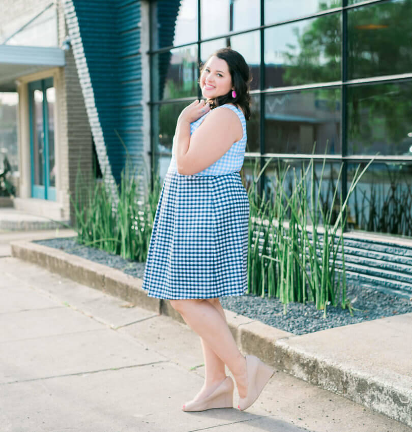 Eloquii Gingham Print Dress | What to wear to a wedding by Emily Bastedo from Something Gold, Something Blue featuring the Eloquii Blue and White Gingham Dress