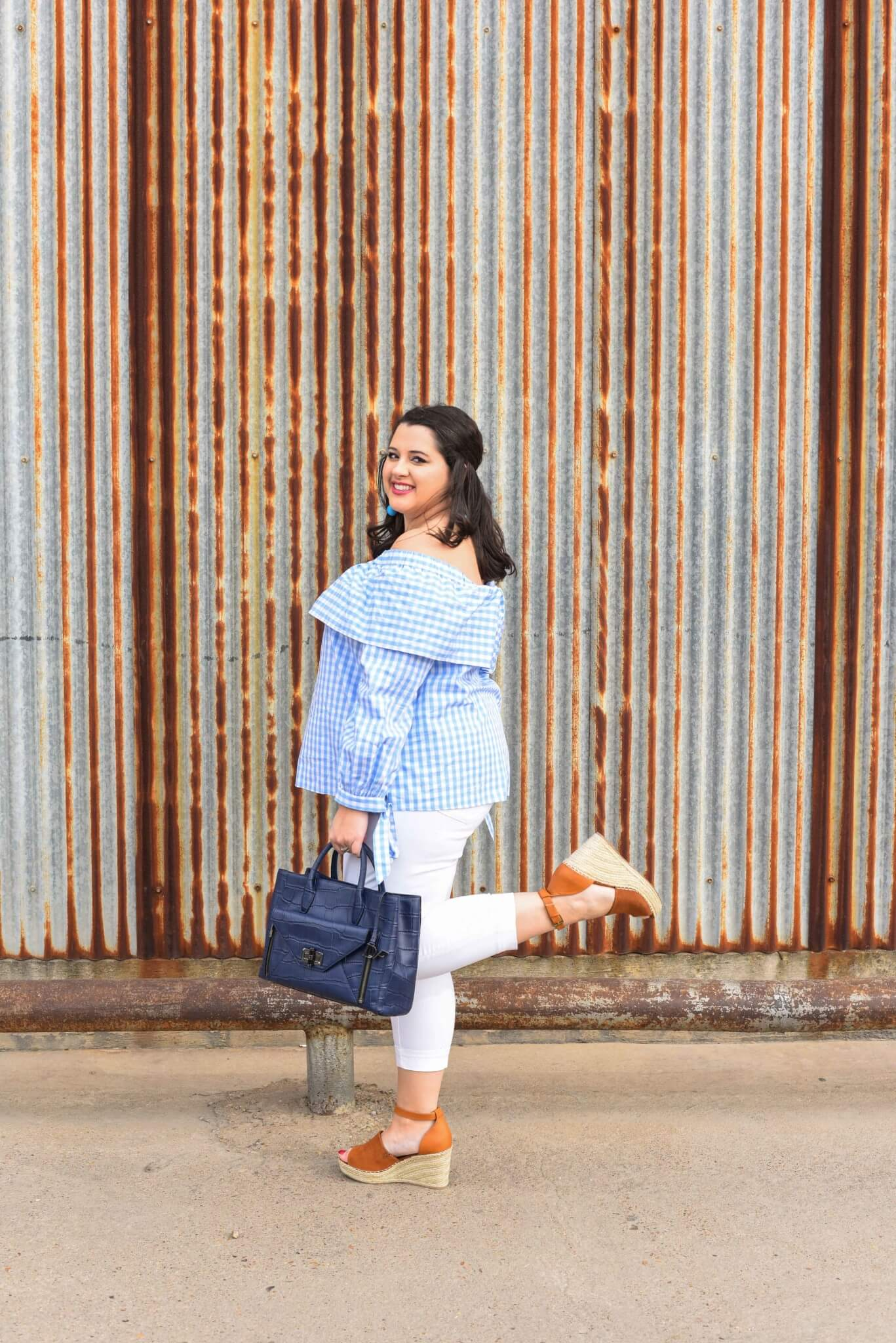 What speaks to spring more than a gingham off the shoulder top and the IT shoes of 2017, the Steve Madden Wedges. Spring style, plus size fashion, curvy fashion, preppy style. - About Emily, the woman behind popular Houston Curvy Fashion Blog, Something Gold, Something Blue