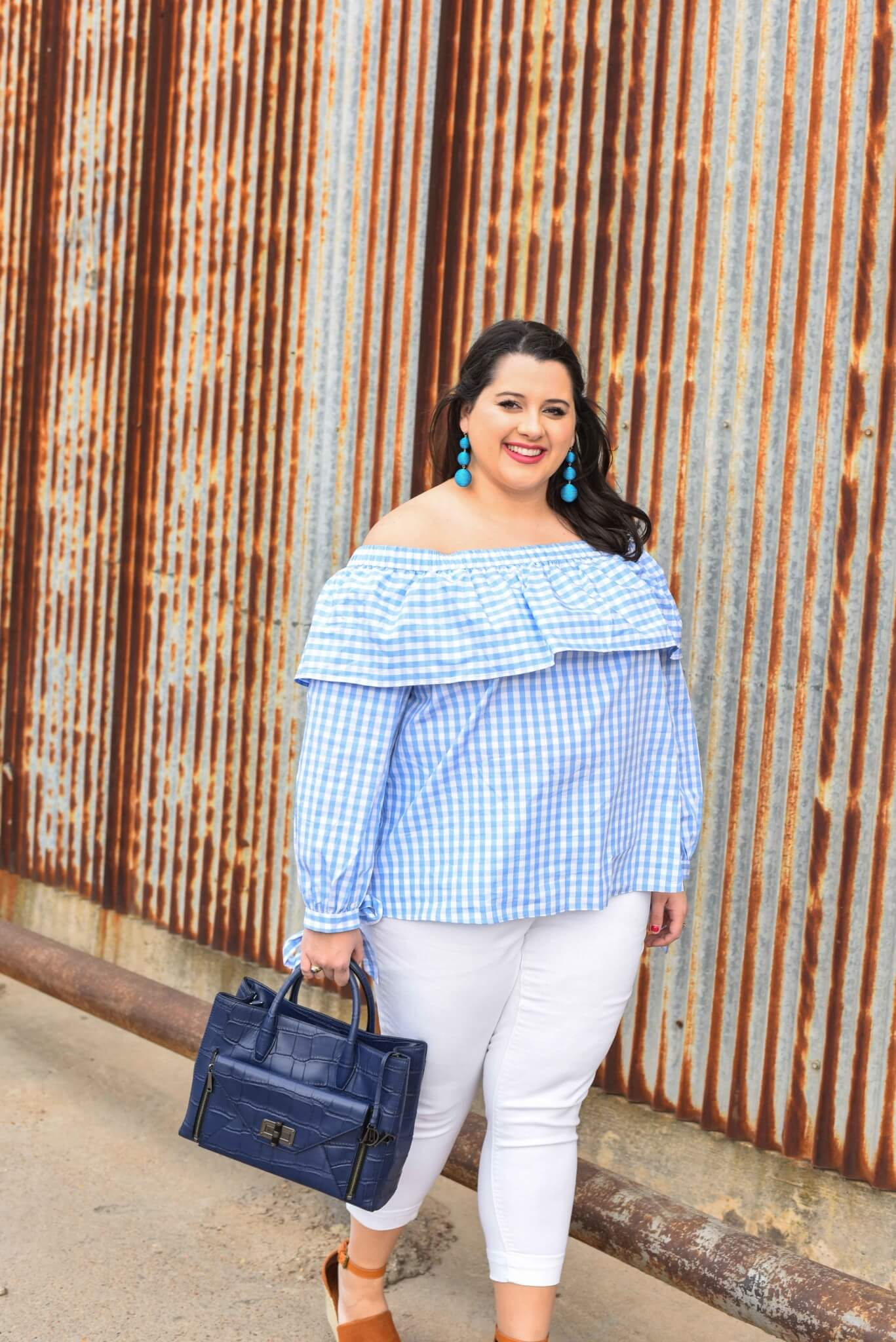 What speaks to spring more than a gingham off the shoulder top and the IT shoes of 2017, the Steve Madden Wedges. Spring style, plus size fashion, curvy fashion, preppy style.
