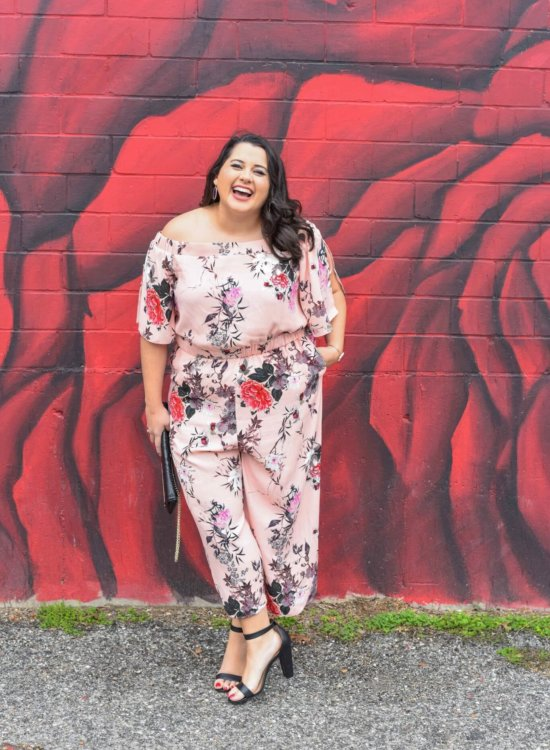 Floral Jumpsuit, Spring style, how to wear a jumpsuit, how to rock an off the shoulder jumpsuit, off the shoulder, jumpsuit, body positivity, body confidence, confidence, change, love yourself, body positive, confident woman