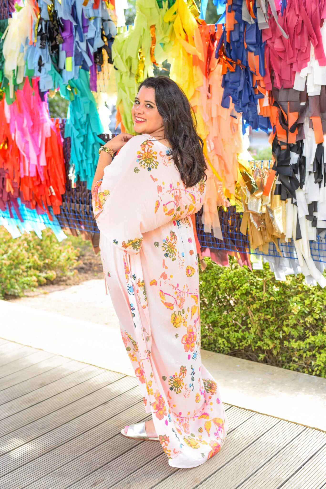 A fun, flirty maxi dress is perfect for a day time date (or day spent with friends) exploring new art installations. This plus size maxi dress from Melissa McCarthy Seven7 can be worn casually or glammed up for an evening out. #plussizefashion #bohemianfashion #curvystyle - Gwynnie Bee outfit by popular Houston fashion blogger Something Gold, Something Blue
