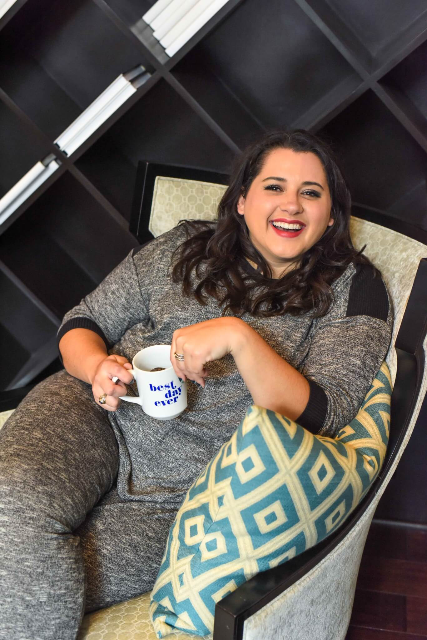 Looking for the perfect Thanksgiving Day pajama set? These grey plus size pajamas would be perfect for watching the Macy's Thanksgiving Day Parade. #thanksgivingstyle #thanksgiving #plussize