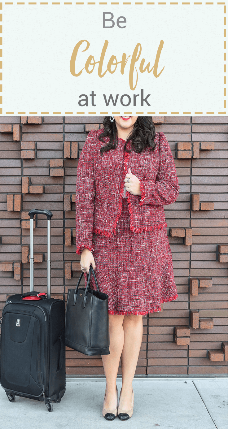 Wearing color to work can be daunting, especially when you are plus size, but wearing classic silhouettes, such as a tweed suit allows you to look professional without going overboard at the corporate office. #plussizefashion #workwear #officefashion