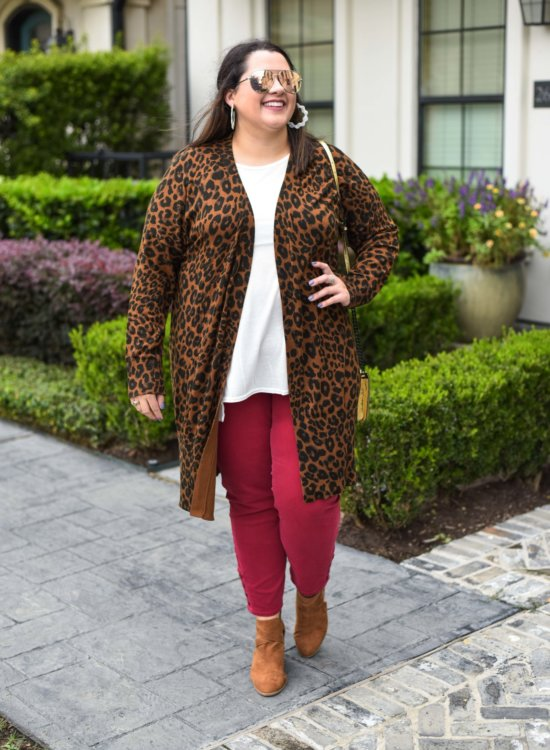Leopard Cardigan with Red Pants