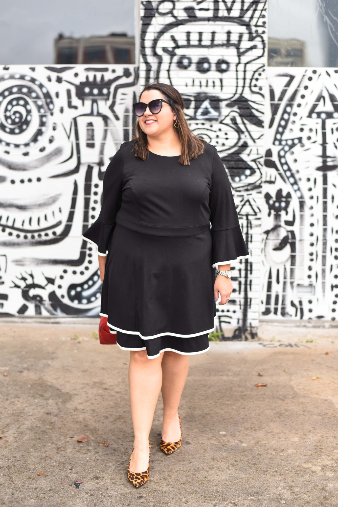 Eliza J Black Fit & Flare Dress