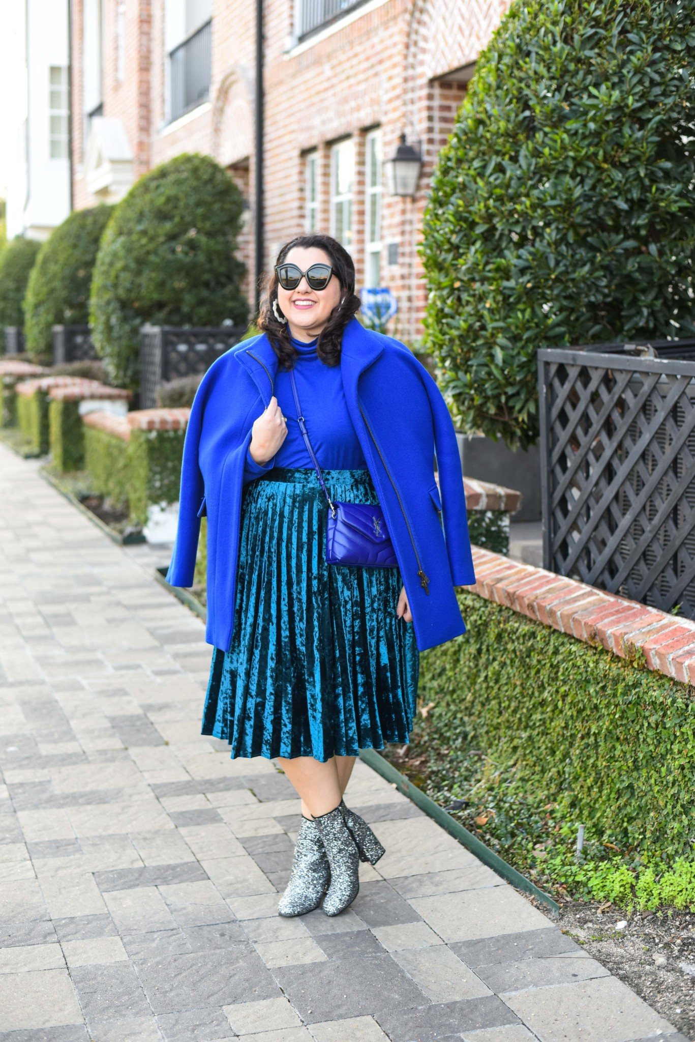 Blue monochromatic winter outfit