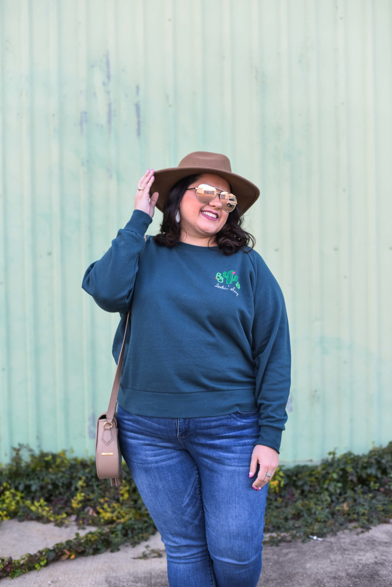 Ori plus size embroidered sweatshirt