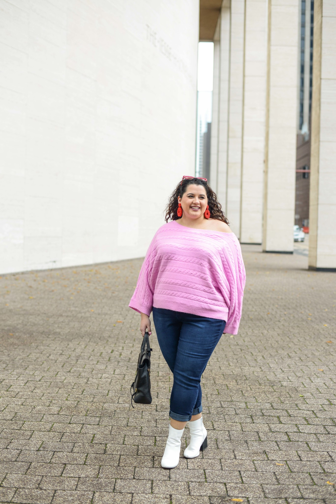 Light pink off the shoulder plus size sweater