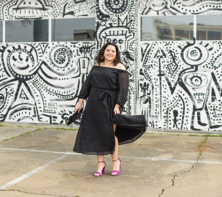 Feeling fancy in a colorful LBD from Eloquii #plussizestyle