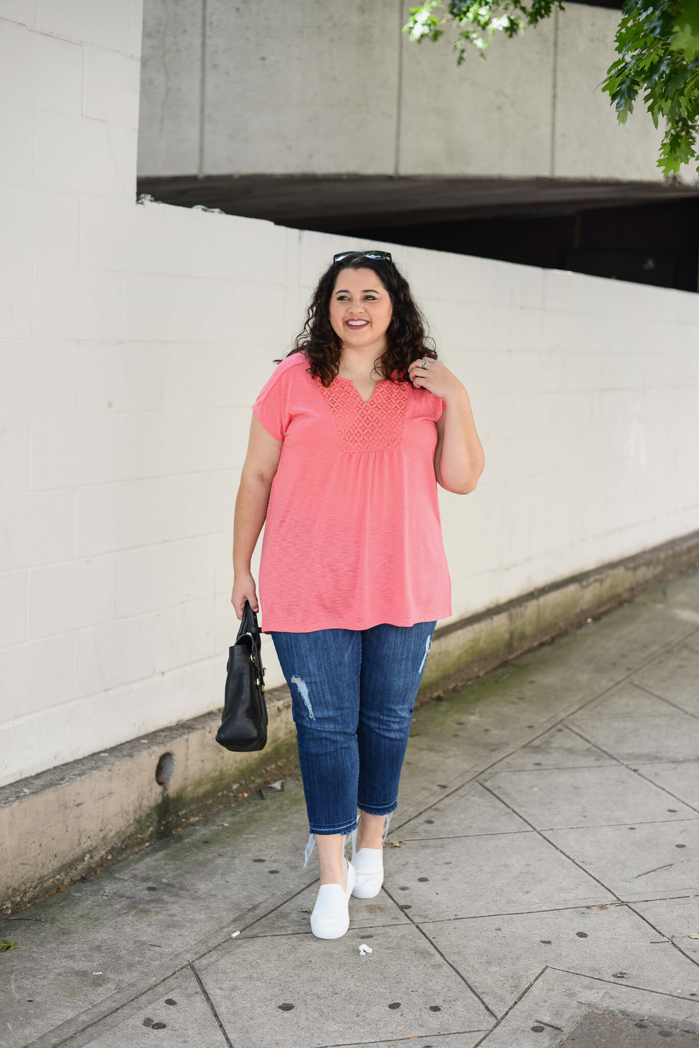 Pink plus size v-neck top from Just My Size is the perfect addition to any summer wardrobe.
