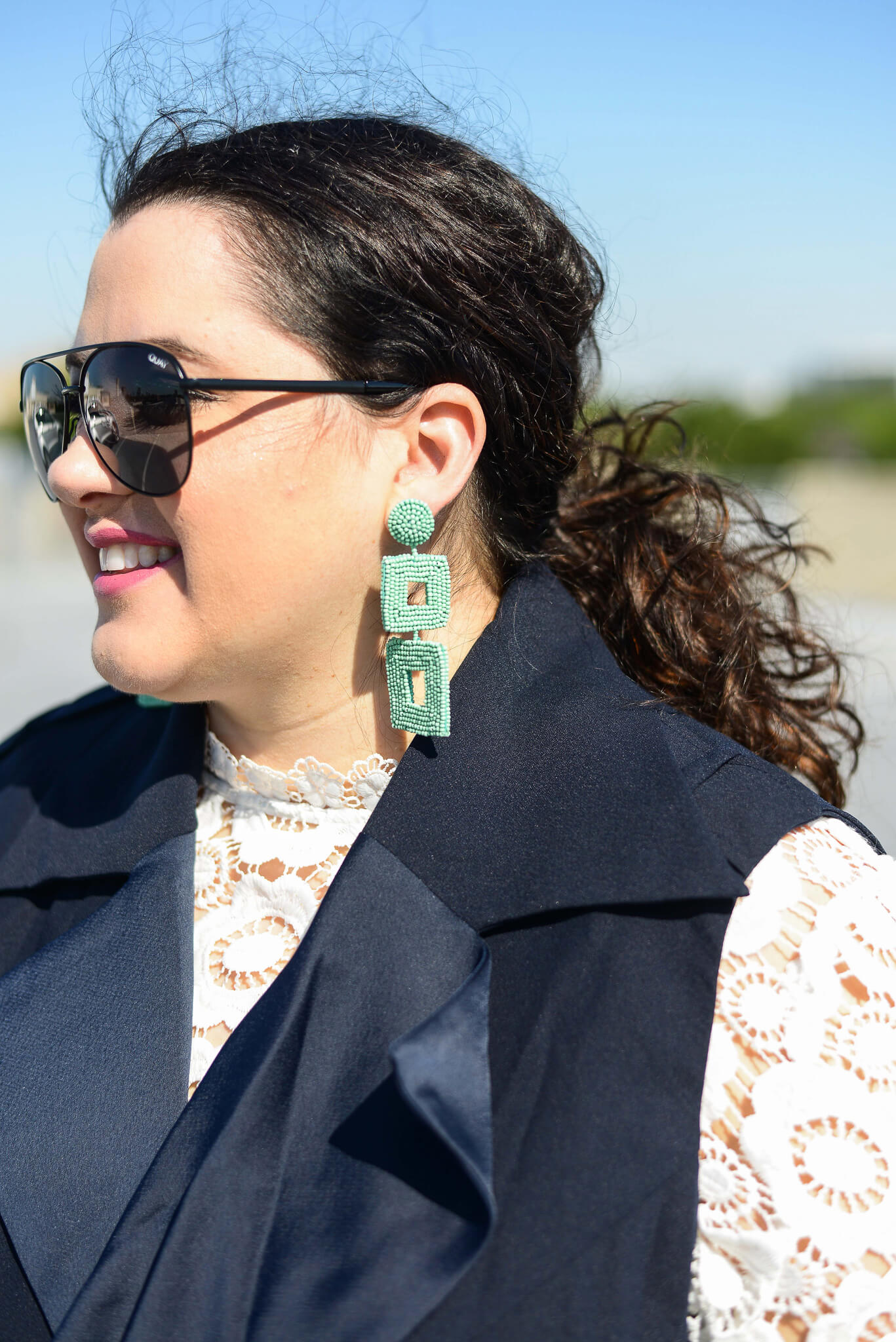 Teal square statement earring