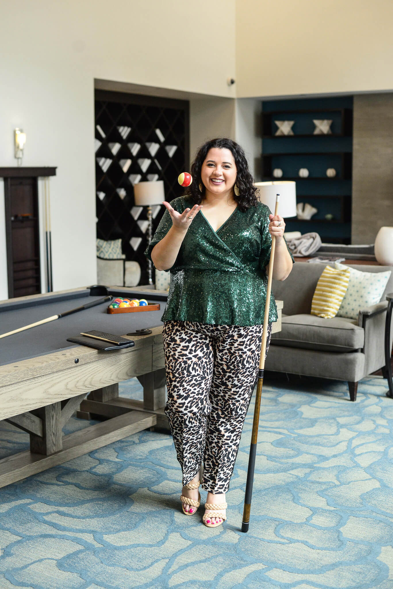 Lots of sparkle and a bold animal print makes for the perfect plus size pants