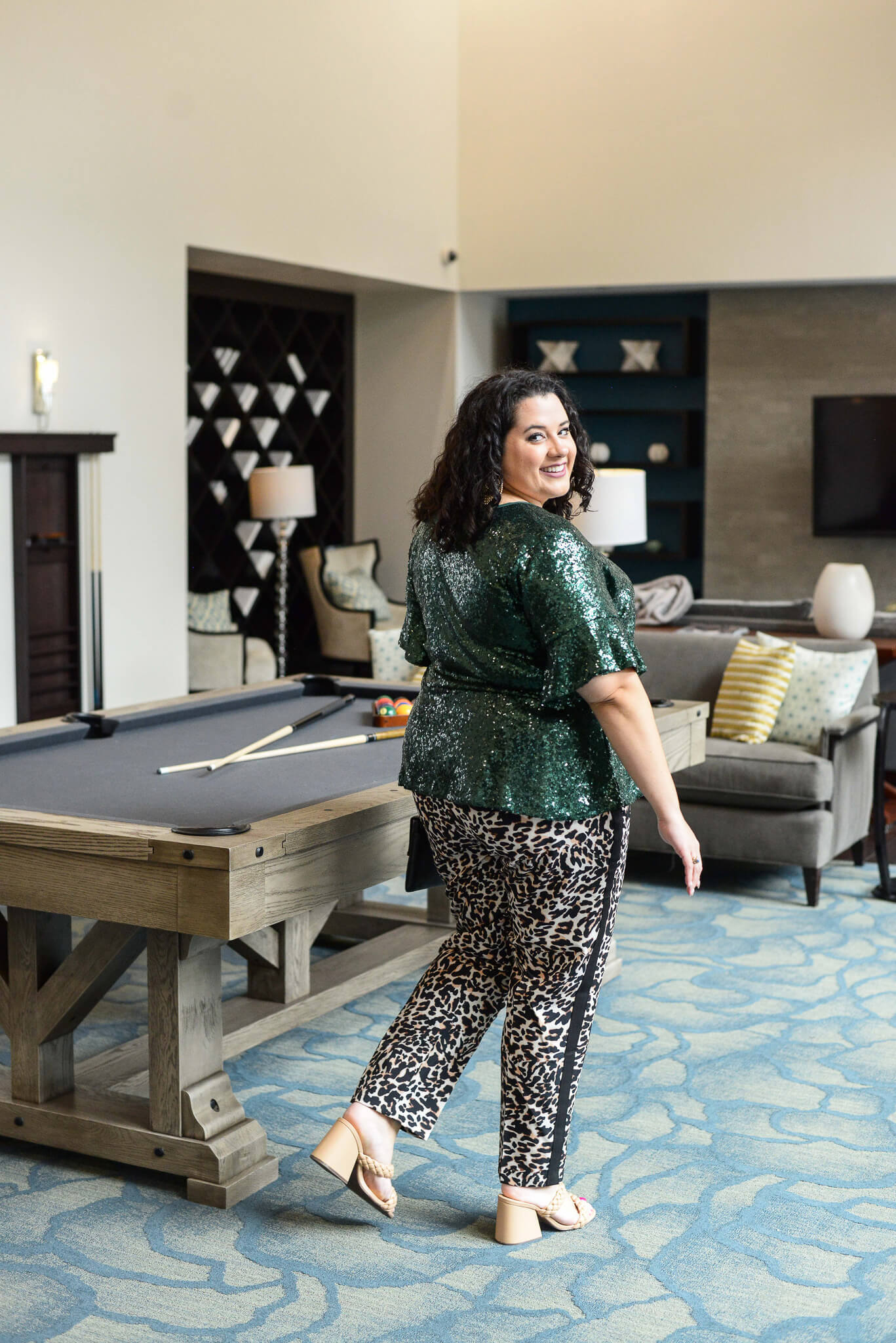 Leopard plus size pants are perfect for a girl's night out.