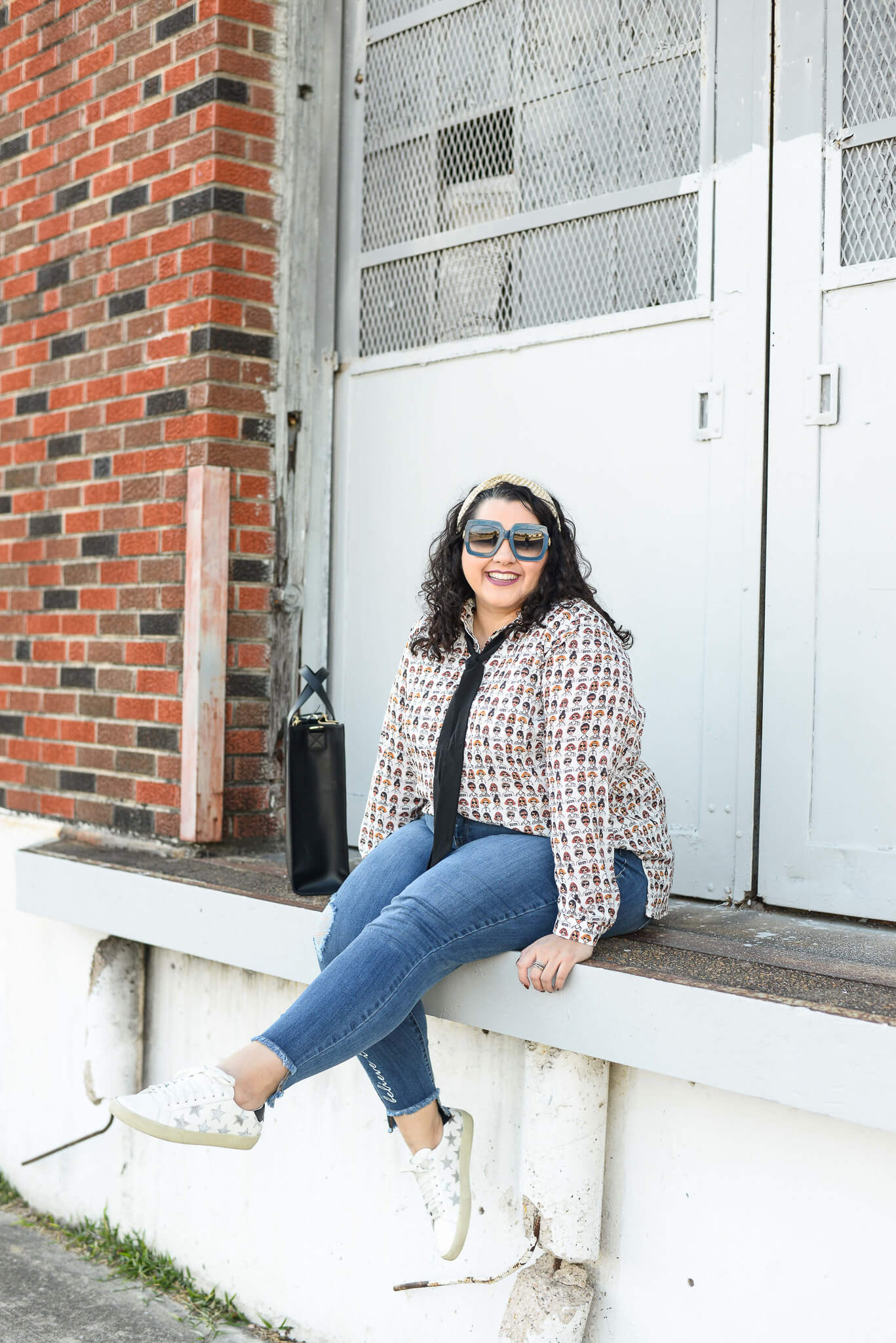 This week, I challenged myself to shop my closet for plus size finds that I already had to make two different outfits from this printed blouse