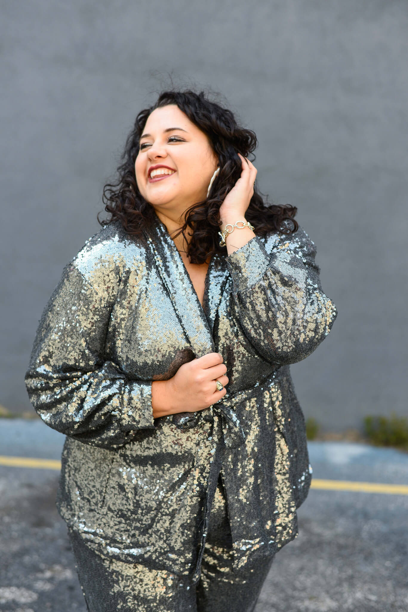 Feeling amazing in a curvy sequin blazer