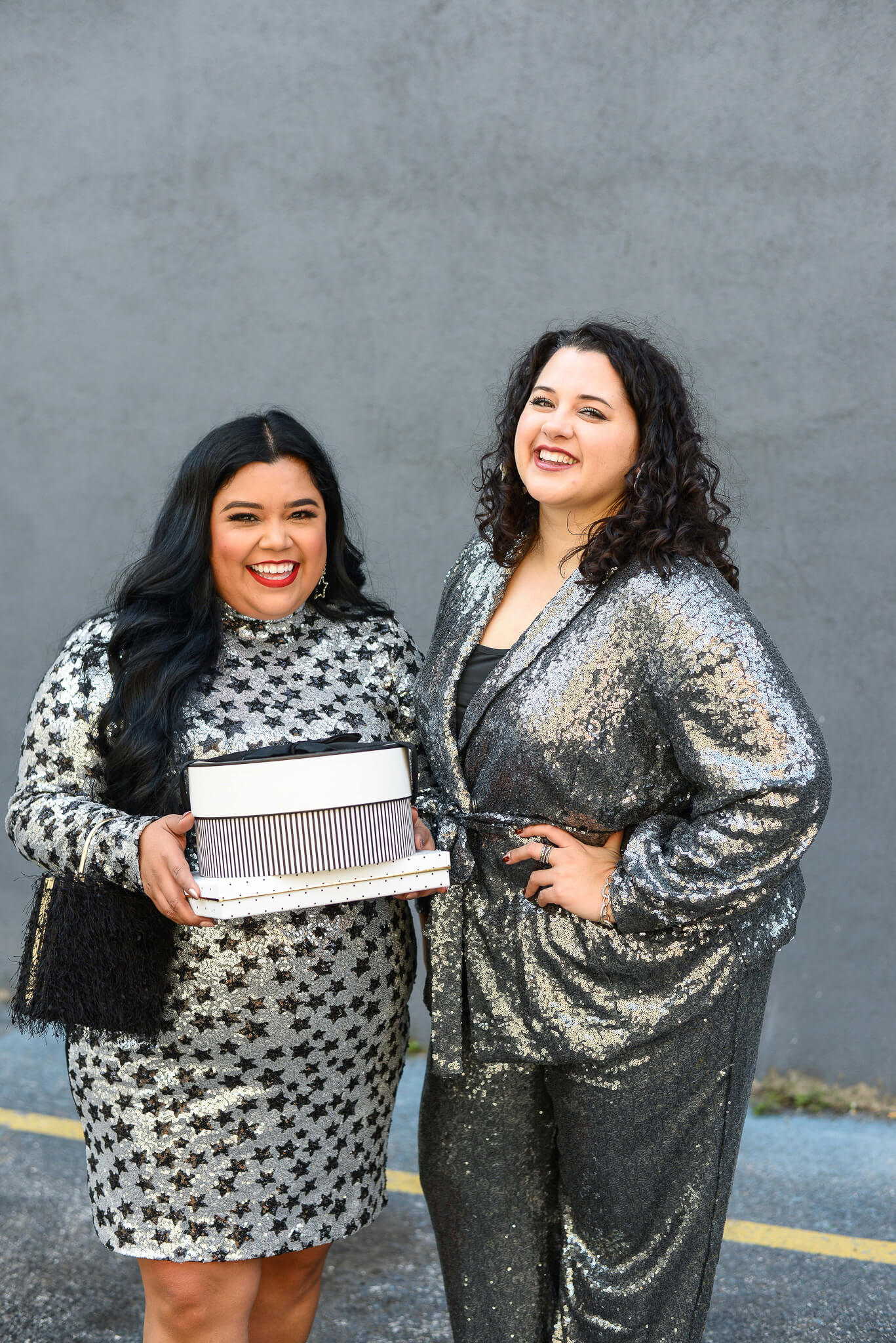 Going to a NYE party with friends? This plus size sequin suit is the perfect outfit for it!