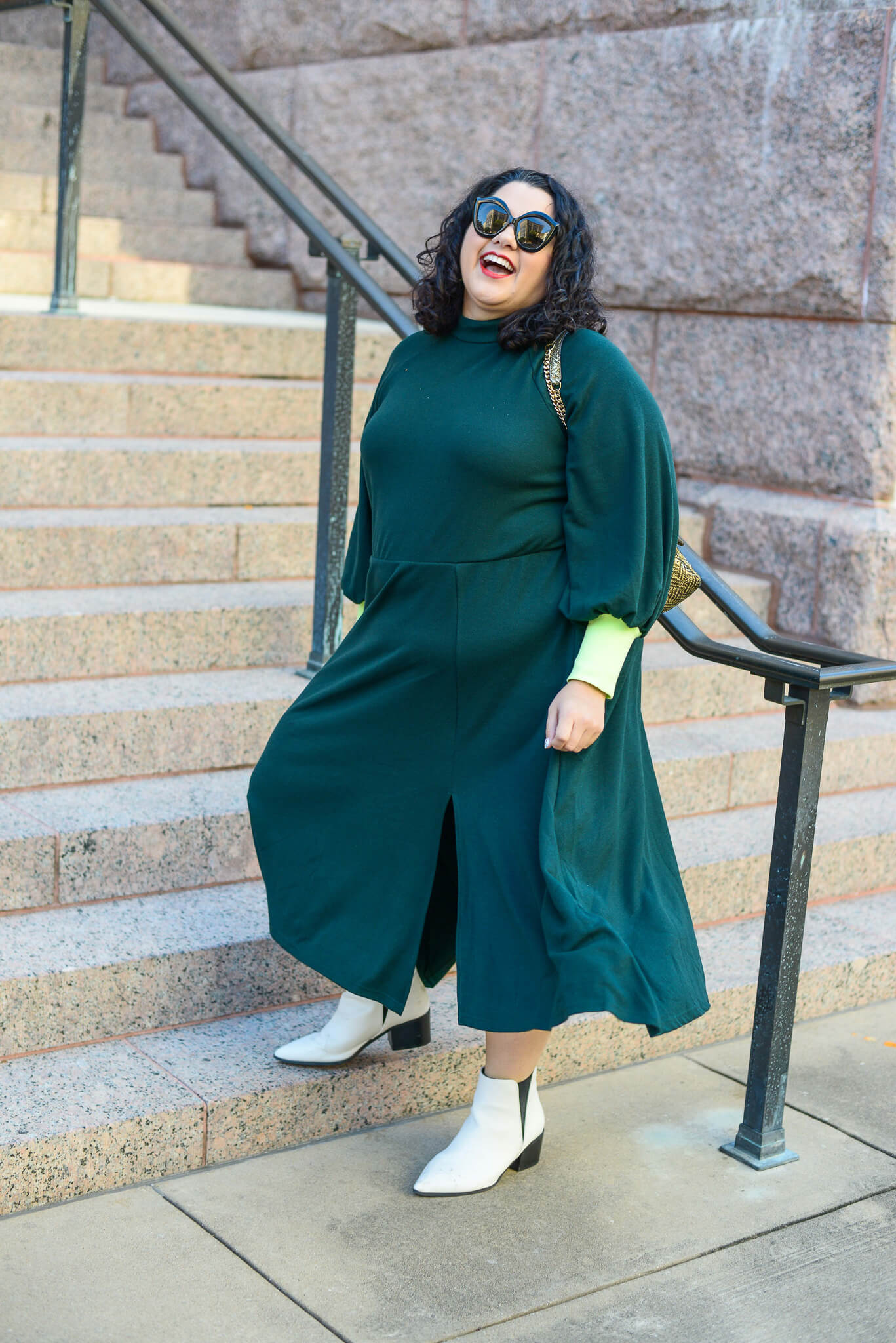 How to style an emerald long sleeve dress plus size