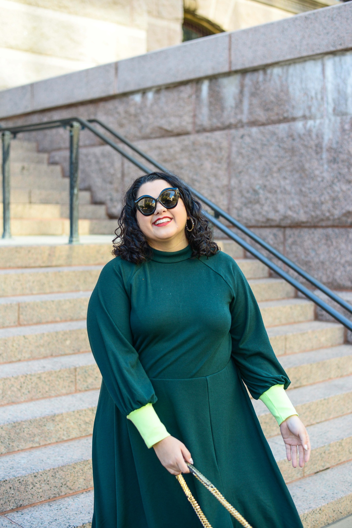 Plus size emerald and lime green dress
