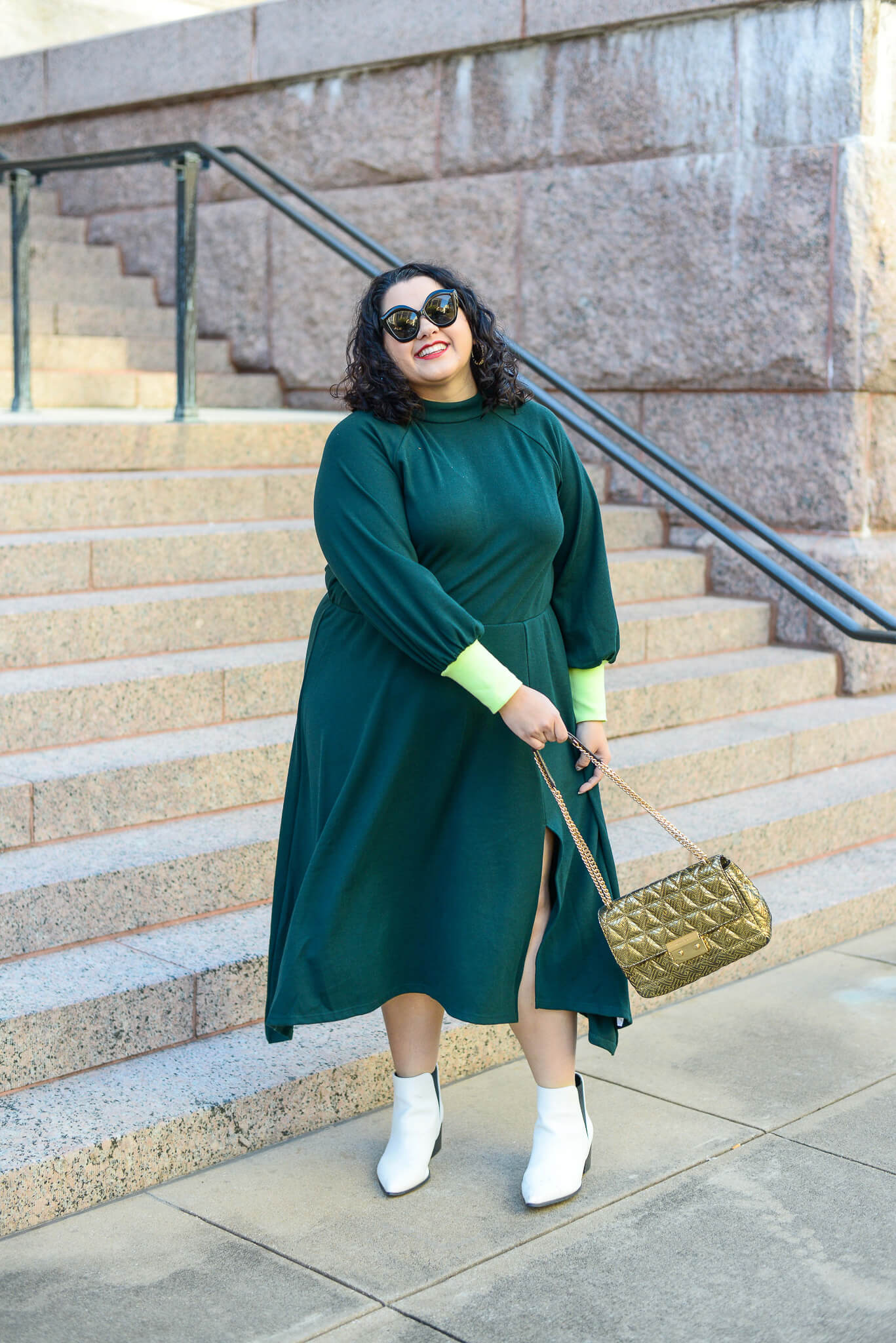 Plus size emerald green cotton dress