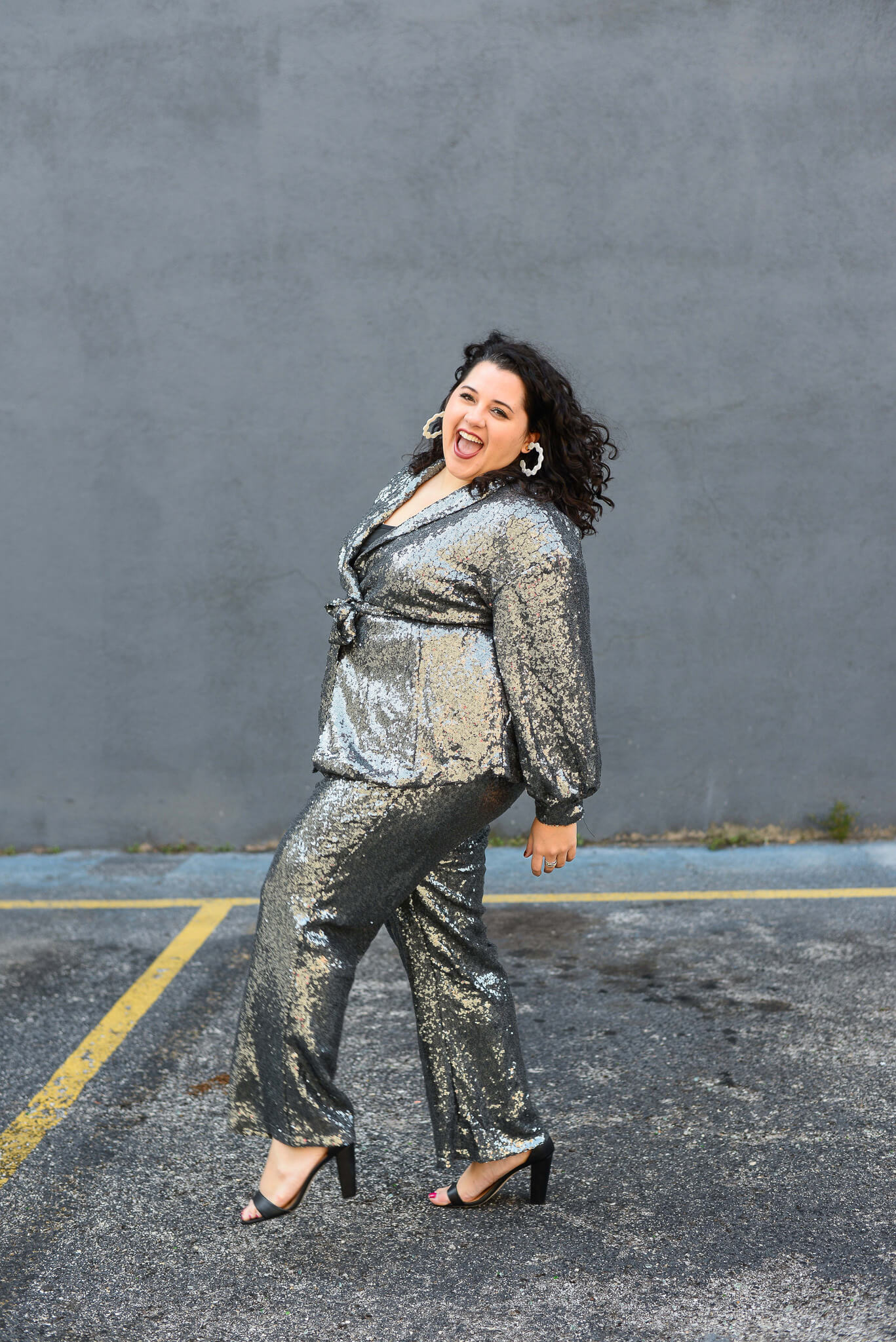 Kicking up my heels in a plus size sequin suit to ring in the new year