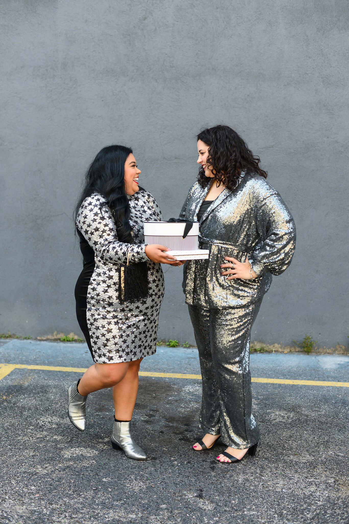 I love celebrating NYE with friends, especially when you are twinning in silver sequins