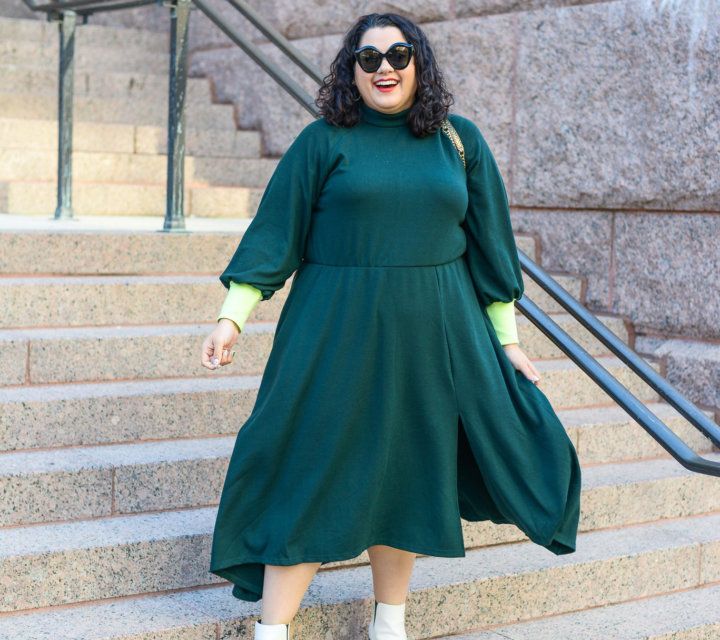 Green sweatshirt dress from Eloquii