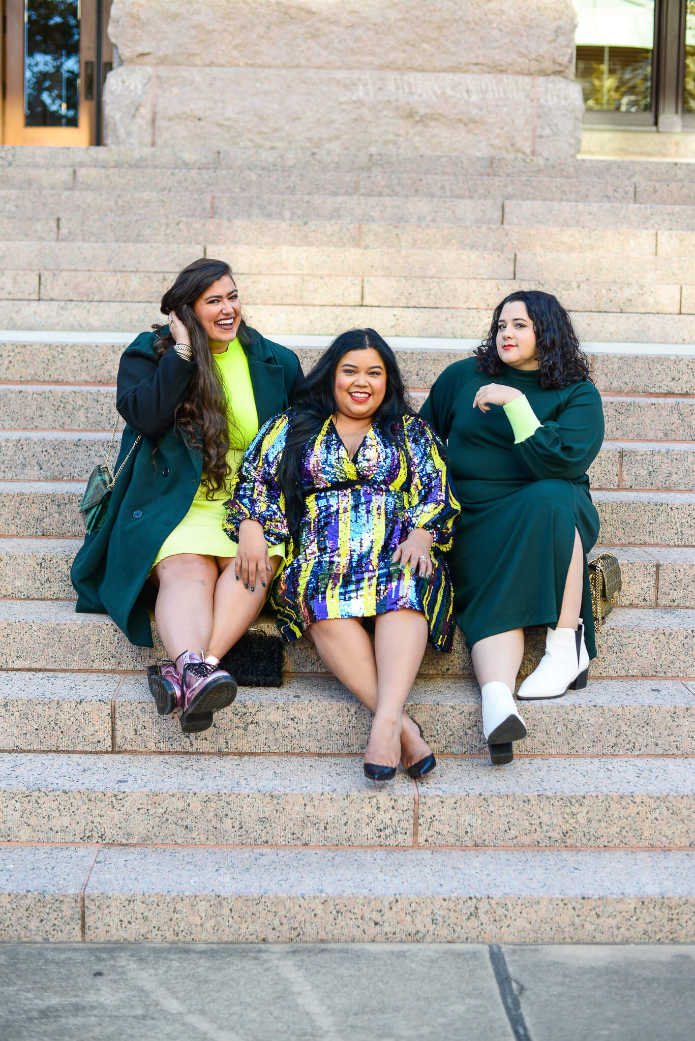 Wearing an emerald green plus size sweatshirt dress with my gal pals