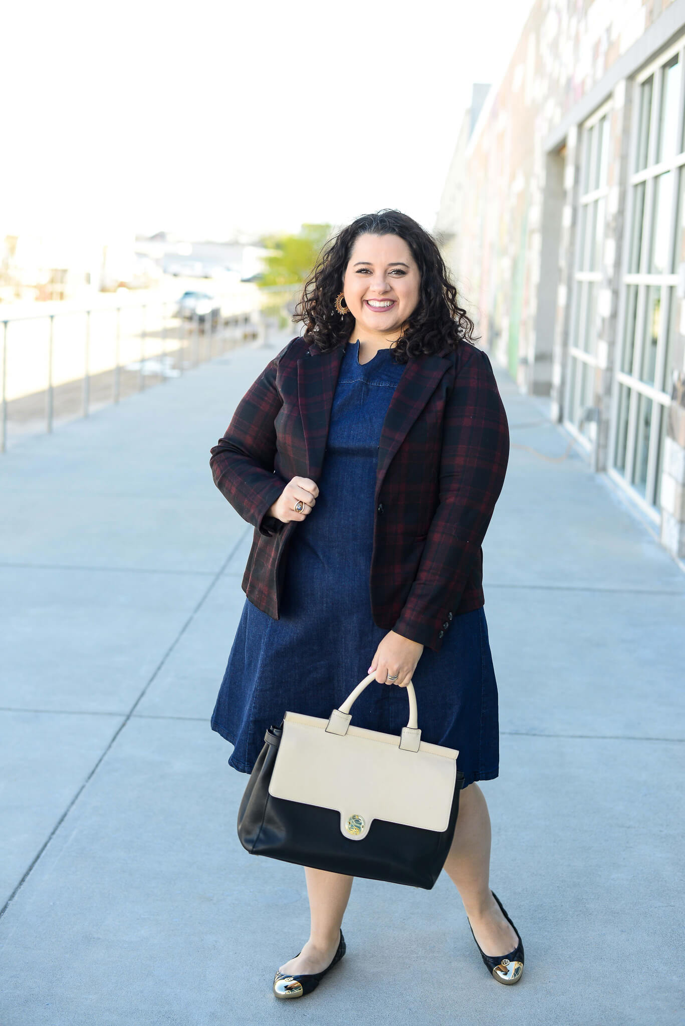 Two ways to style a plus size denim dress