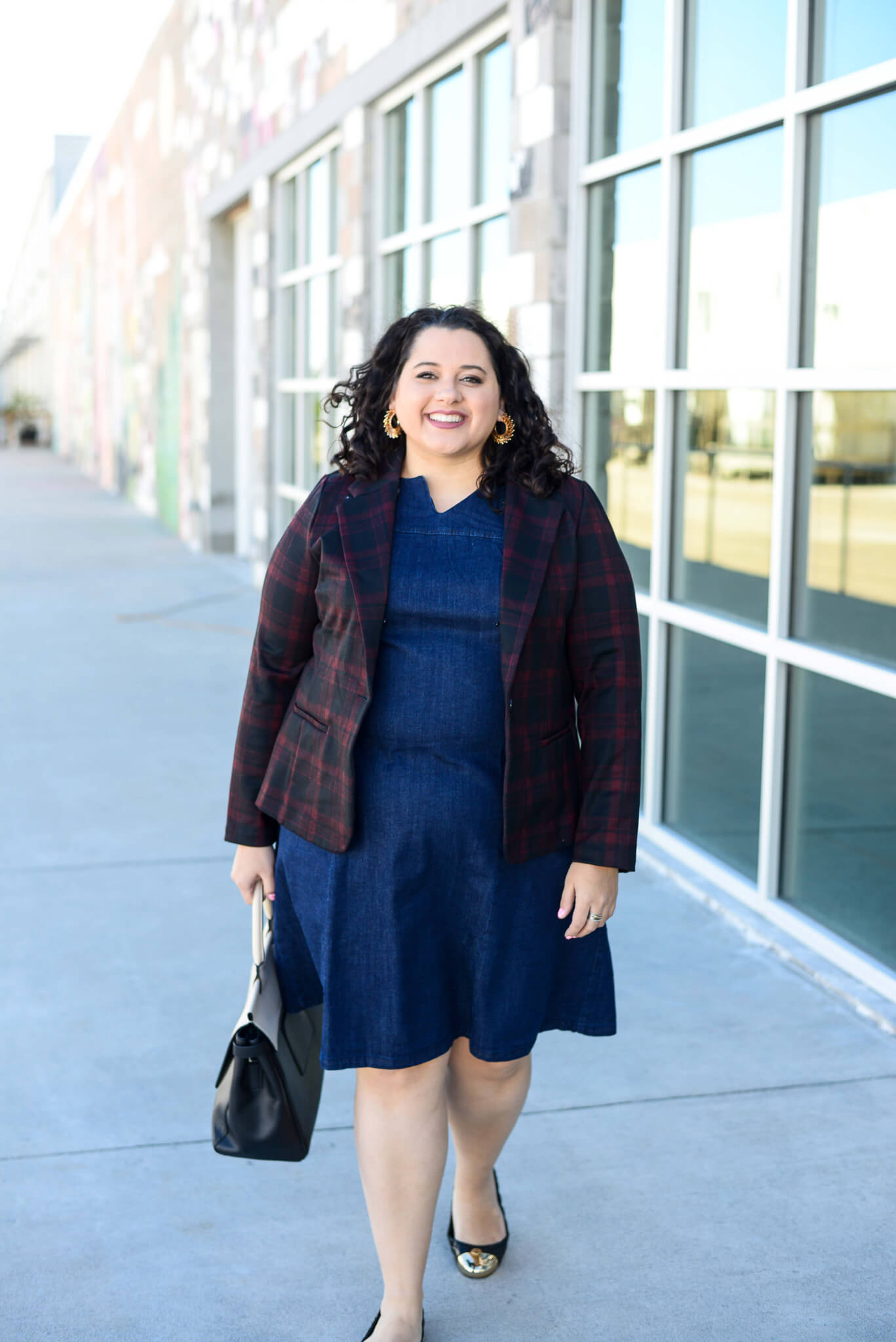 Two ways to style a denim shift dress