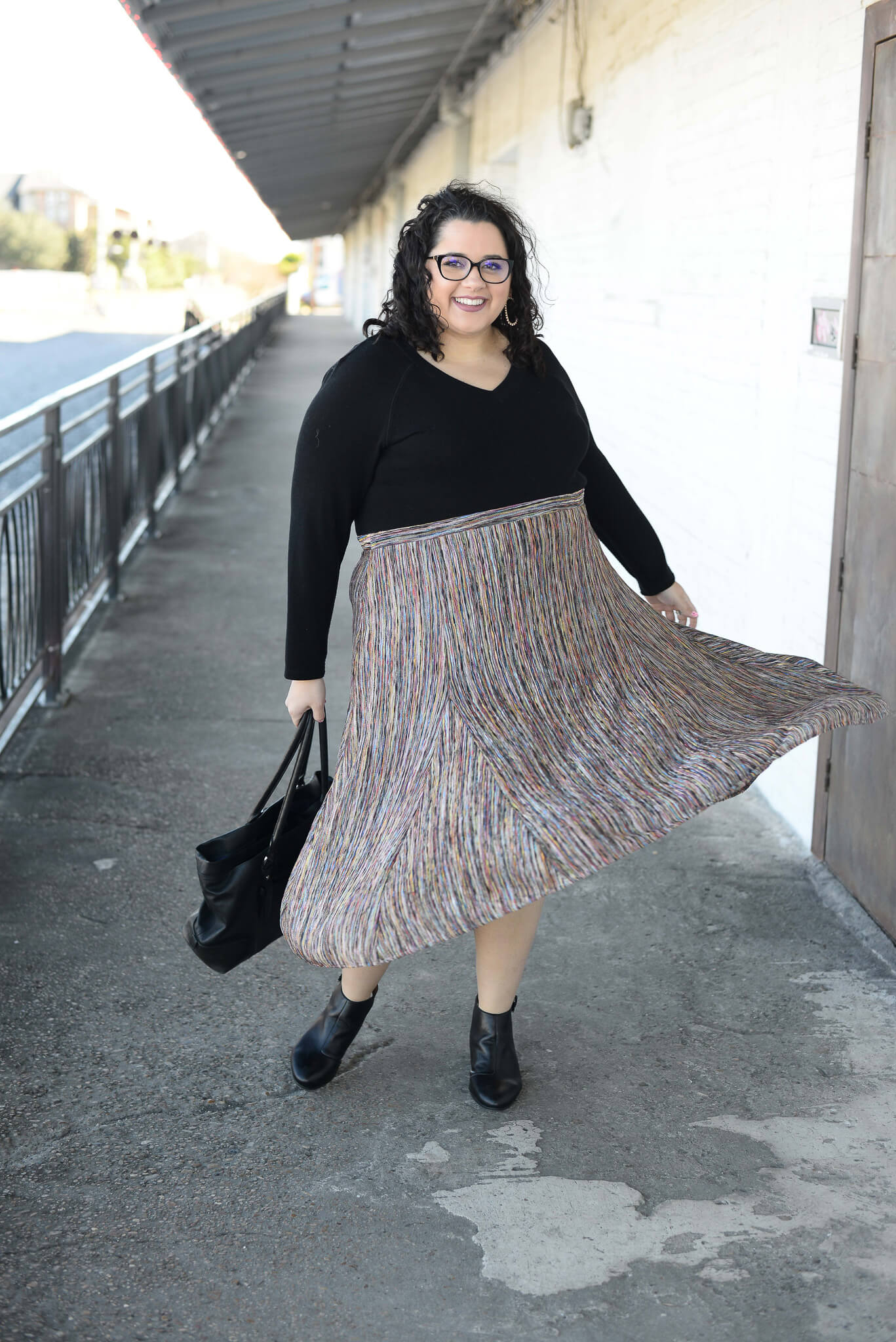 Heading into the office in a colorful plus size skirt