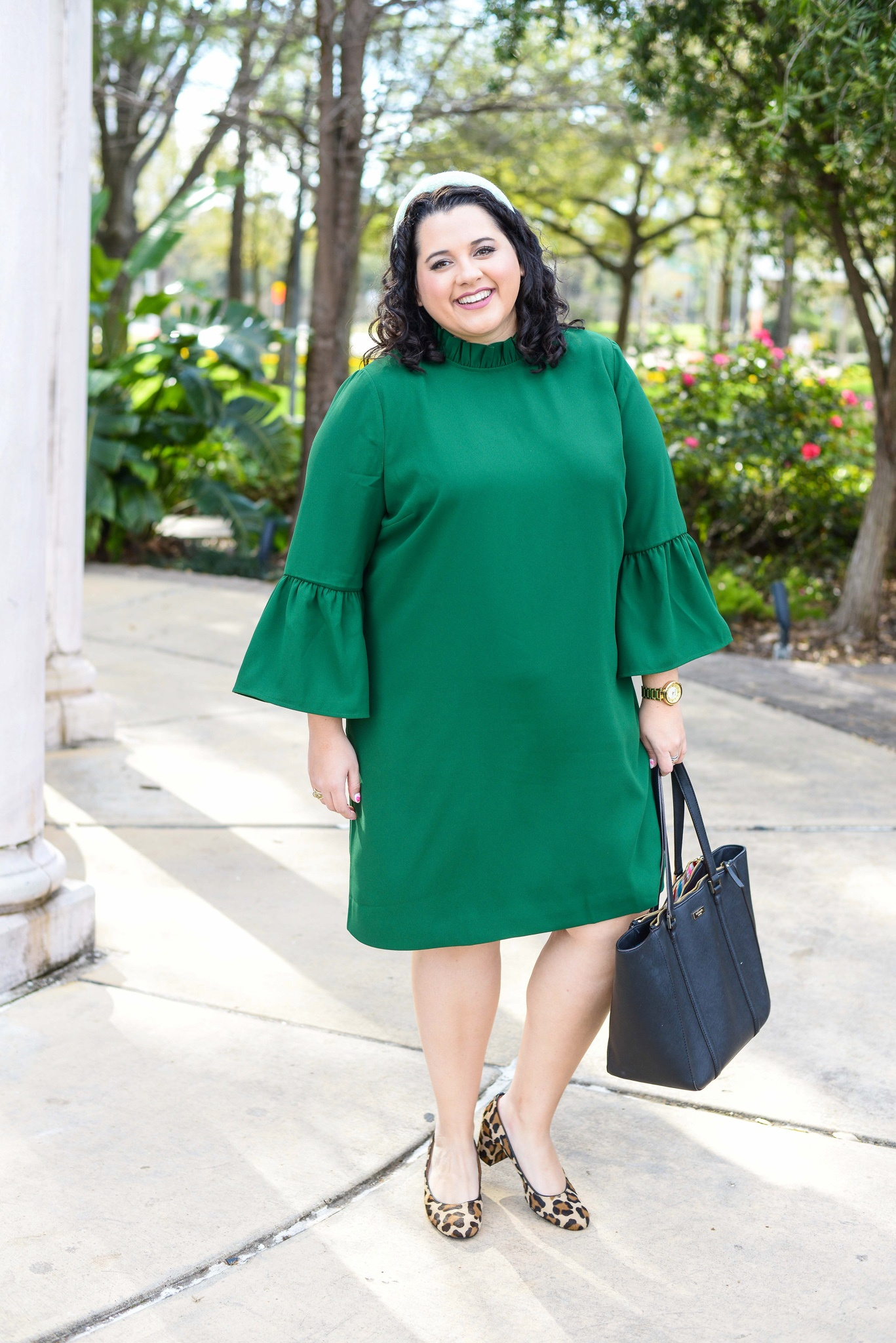 What to wear to the office for St. Patrick's Day as a plus size woman.