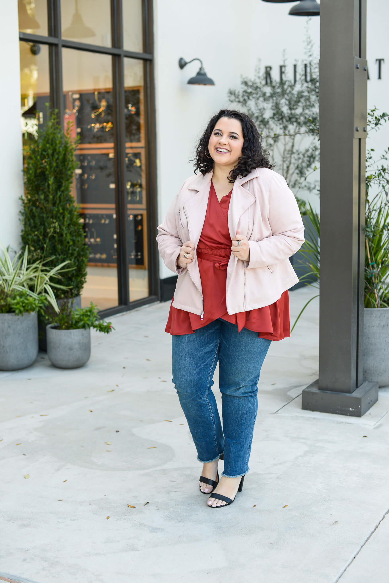 A faux suede pink moto jacket is perfect for date night