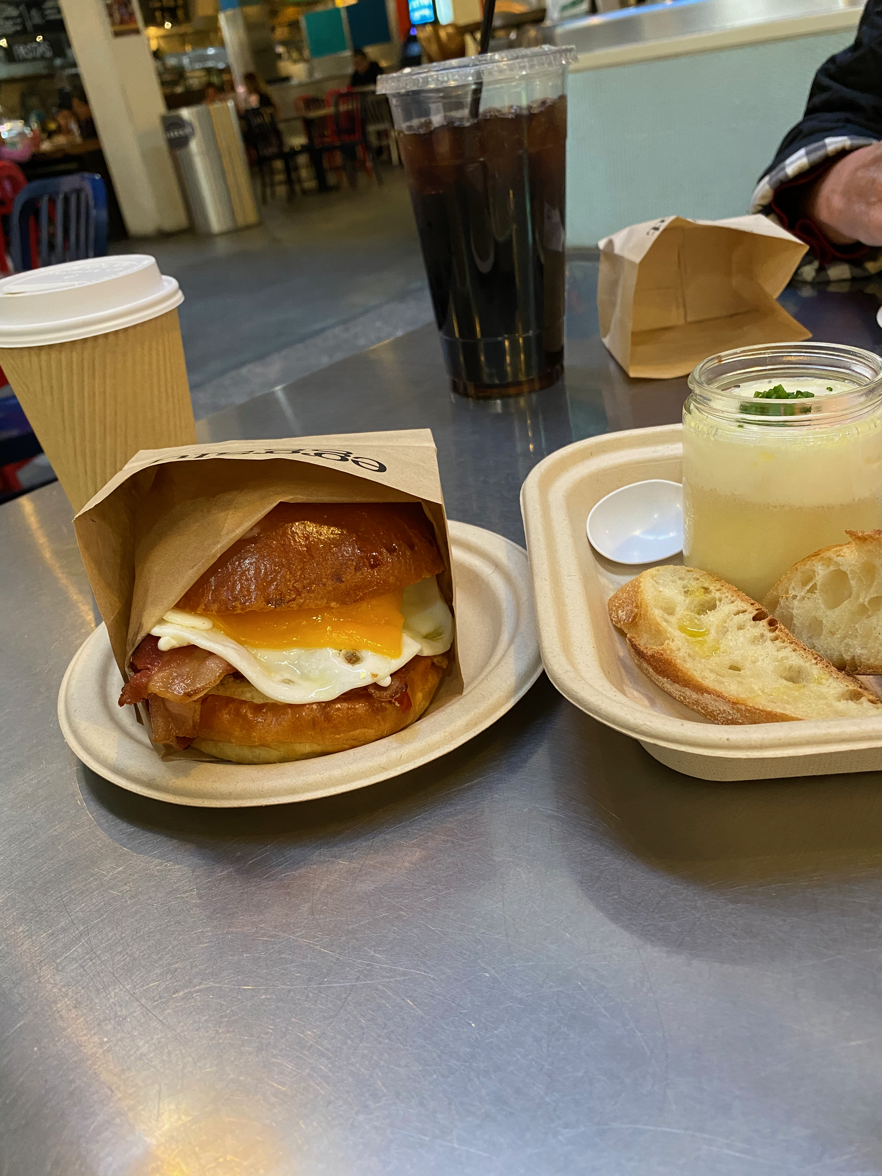 Enjoying a breakfast at Eggslut in Grand Central Market in Downtown LA