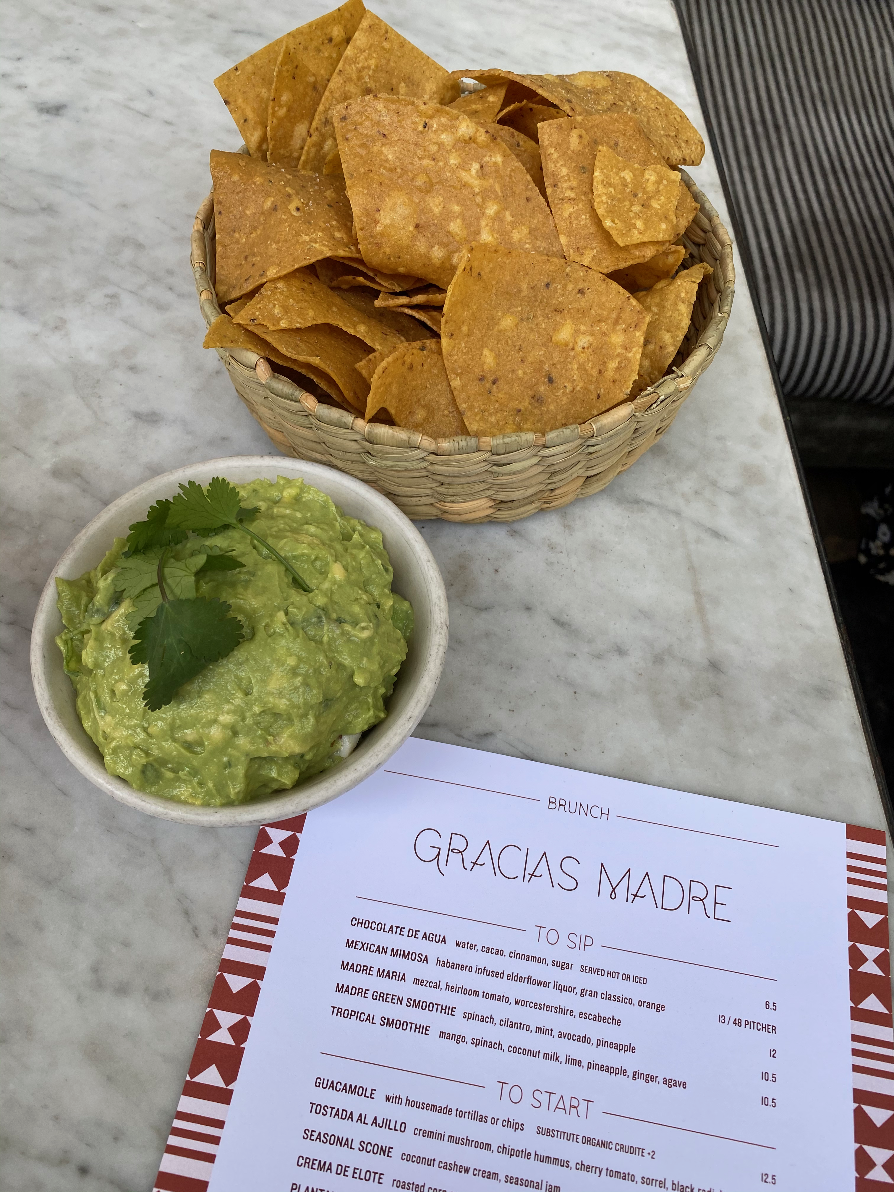Guac and Chips at Gracias Madre in West Hollywood, CA