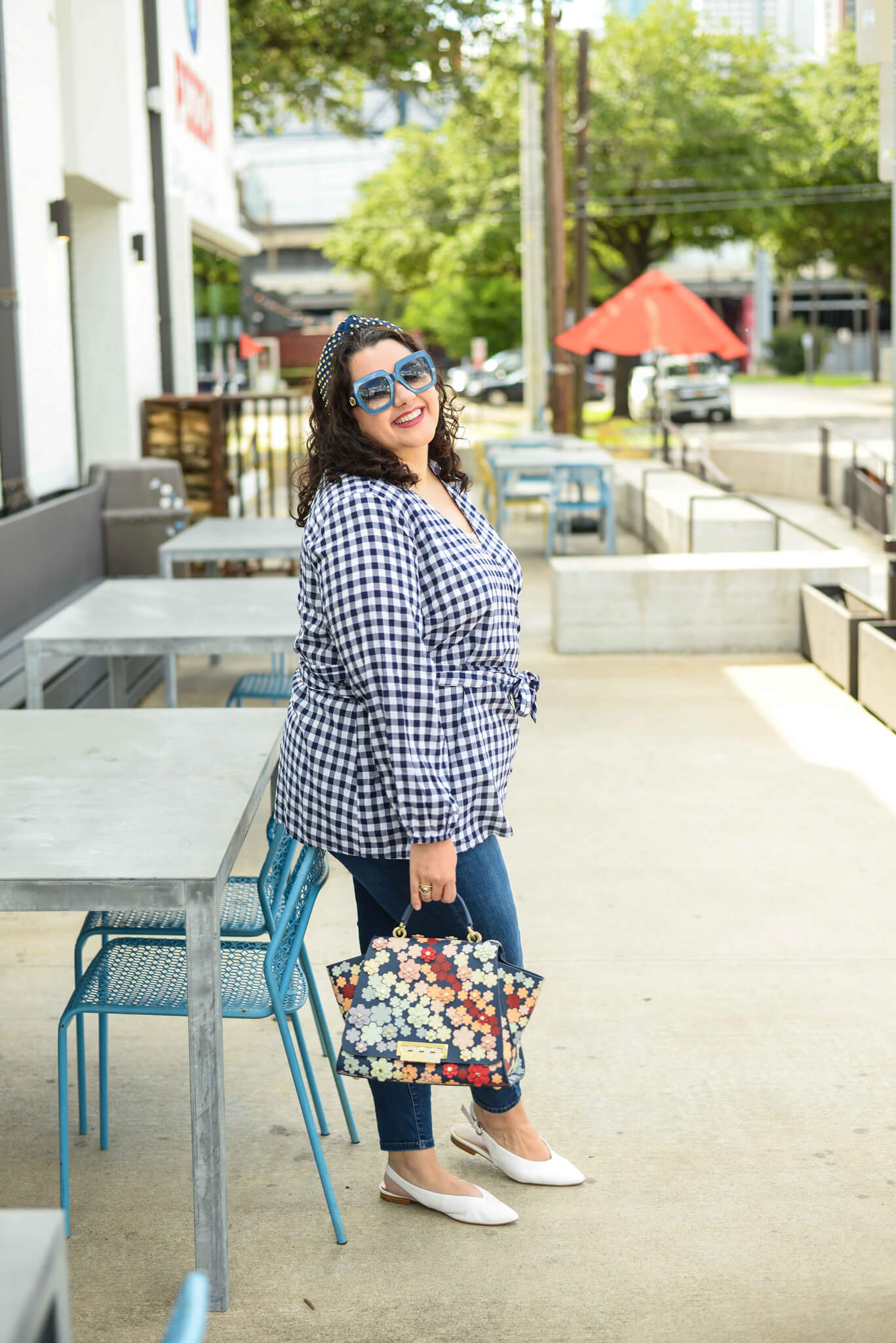 Plus size blue and white gingham top