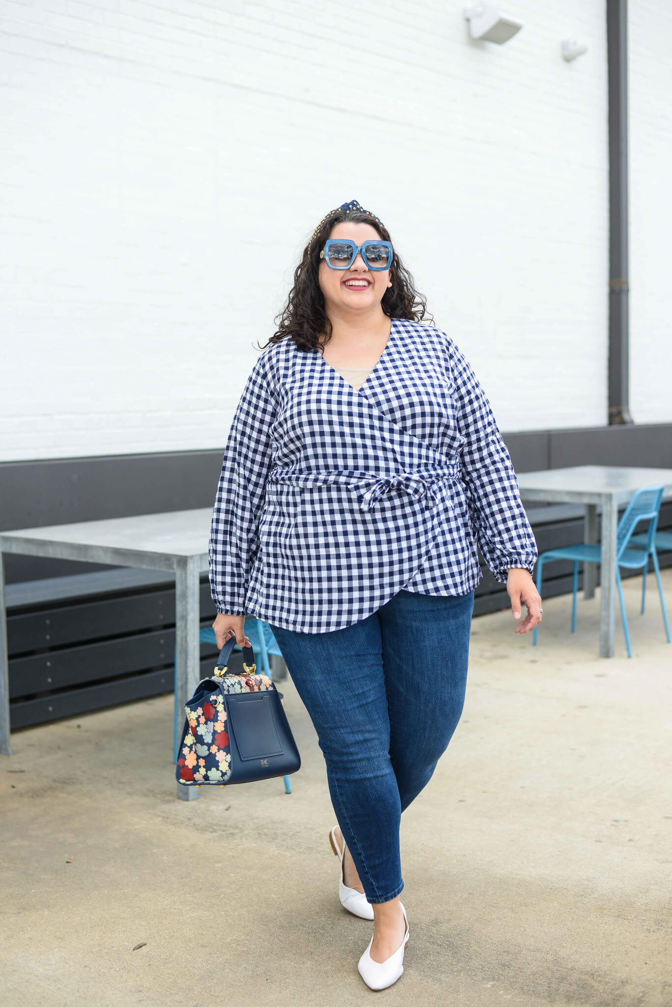Plus size gingham top