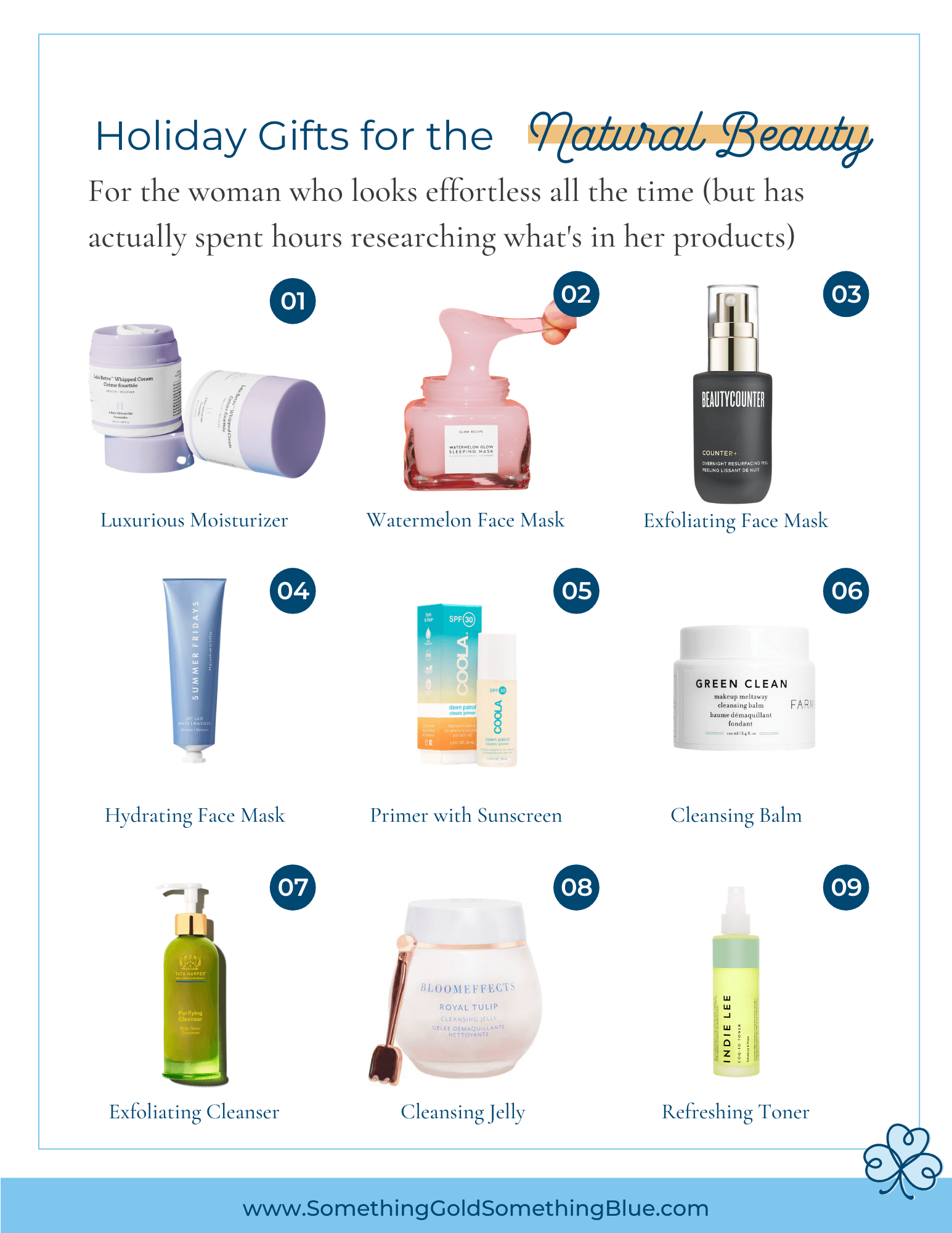 Holiday gift guide for the natural beauty and clean beauty enthusiast. These products do not contain harmful ingredients, but still pack a punch