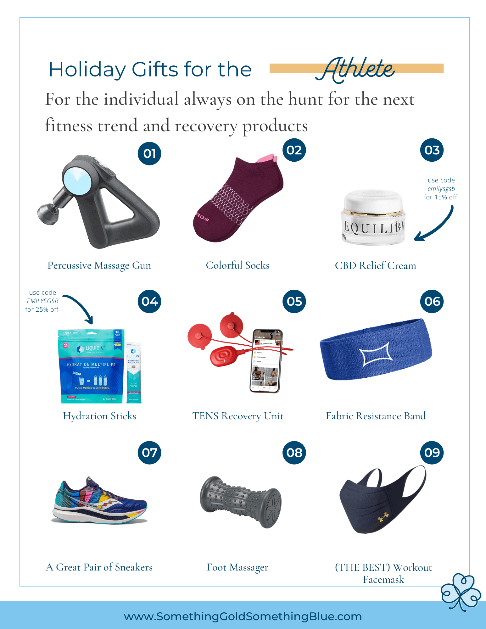 Gift Guide for the Athlete or Fitness Enthusiast in your life. These products will help them workout harder, get stronger, and recover faster.