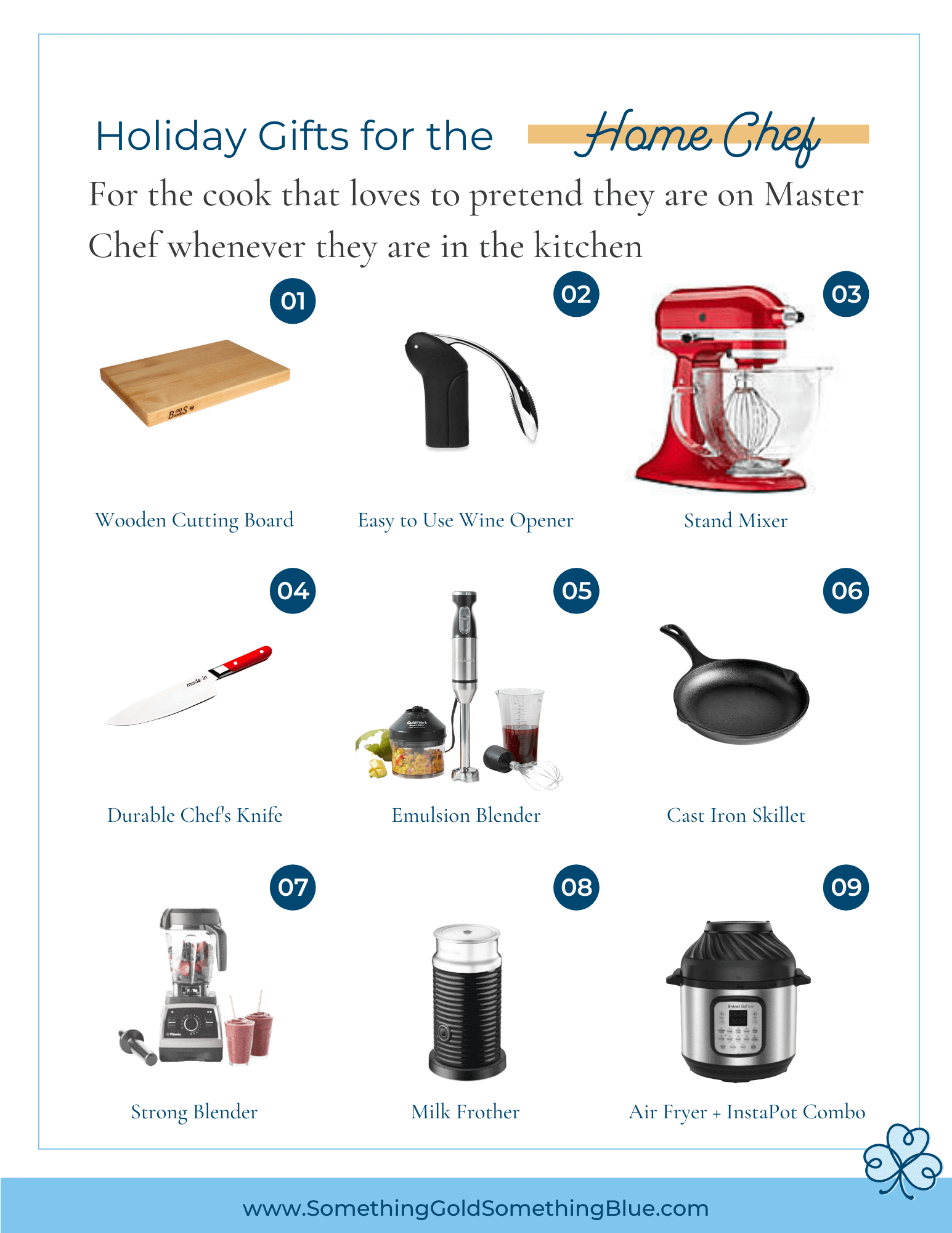 Gift Guide for the amateur home cook who thinks they are a James Beard Chef. These kitchen essentials are everything they are wishing that will be under the tree.