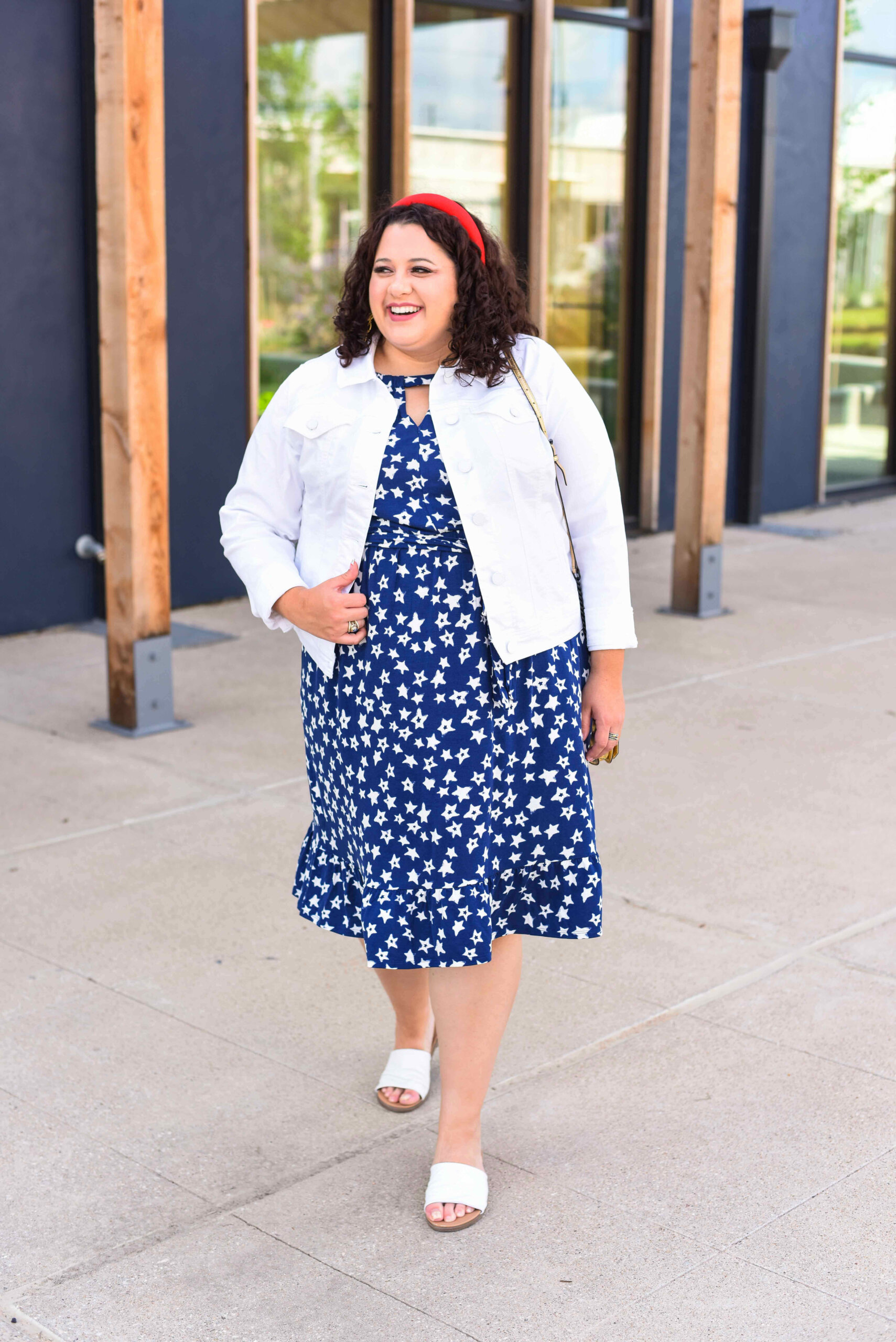The perfect red, white and blue plus size outfit for Memorial Day or Fourth of July